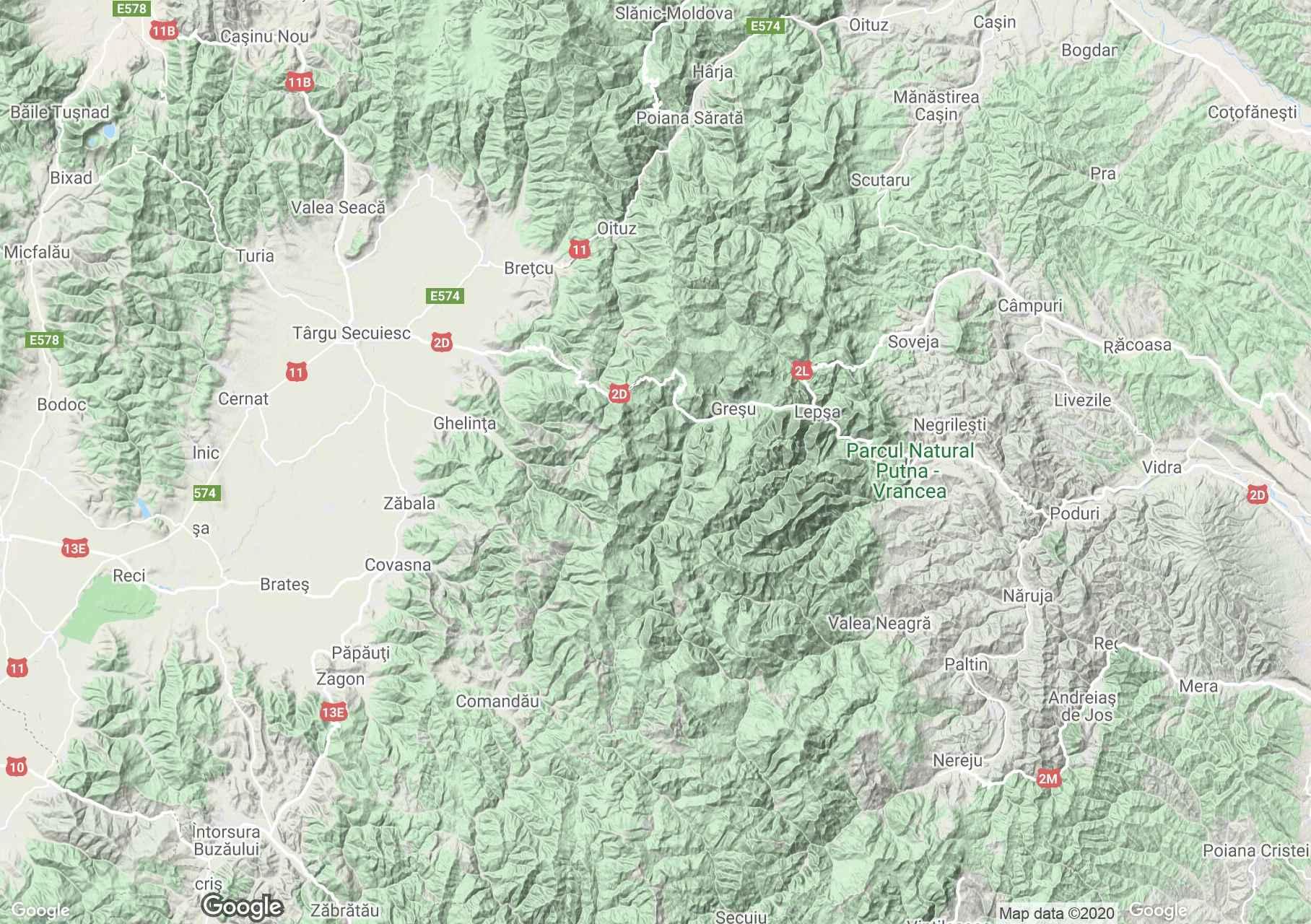 Munţii Vrancei, Harta turistică interactivă