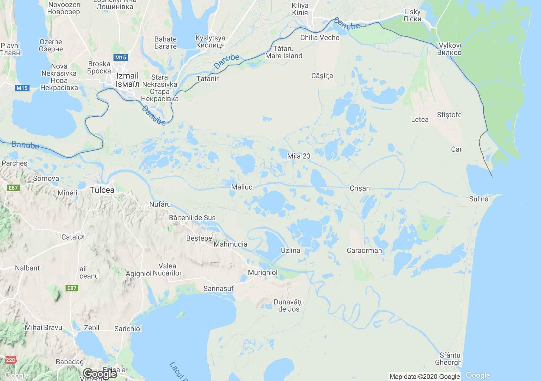 Zona Deltei Dunarii, Harta turistică interactivă