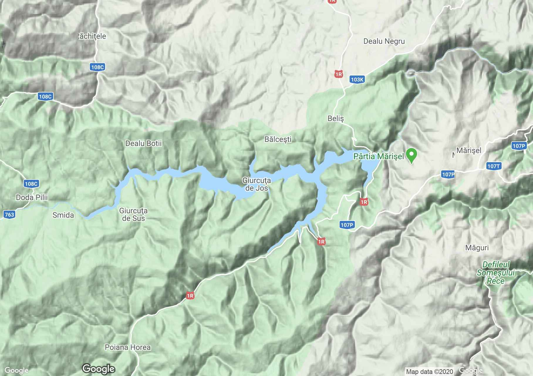 Jósikafalvi víztározó interaktív turista térképe.