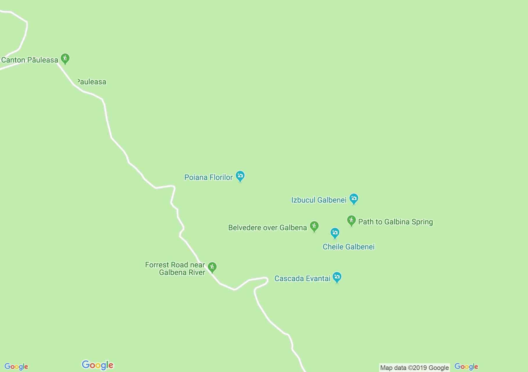 Păuleasa: Galbena völgy (térkép)