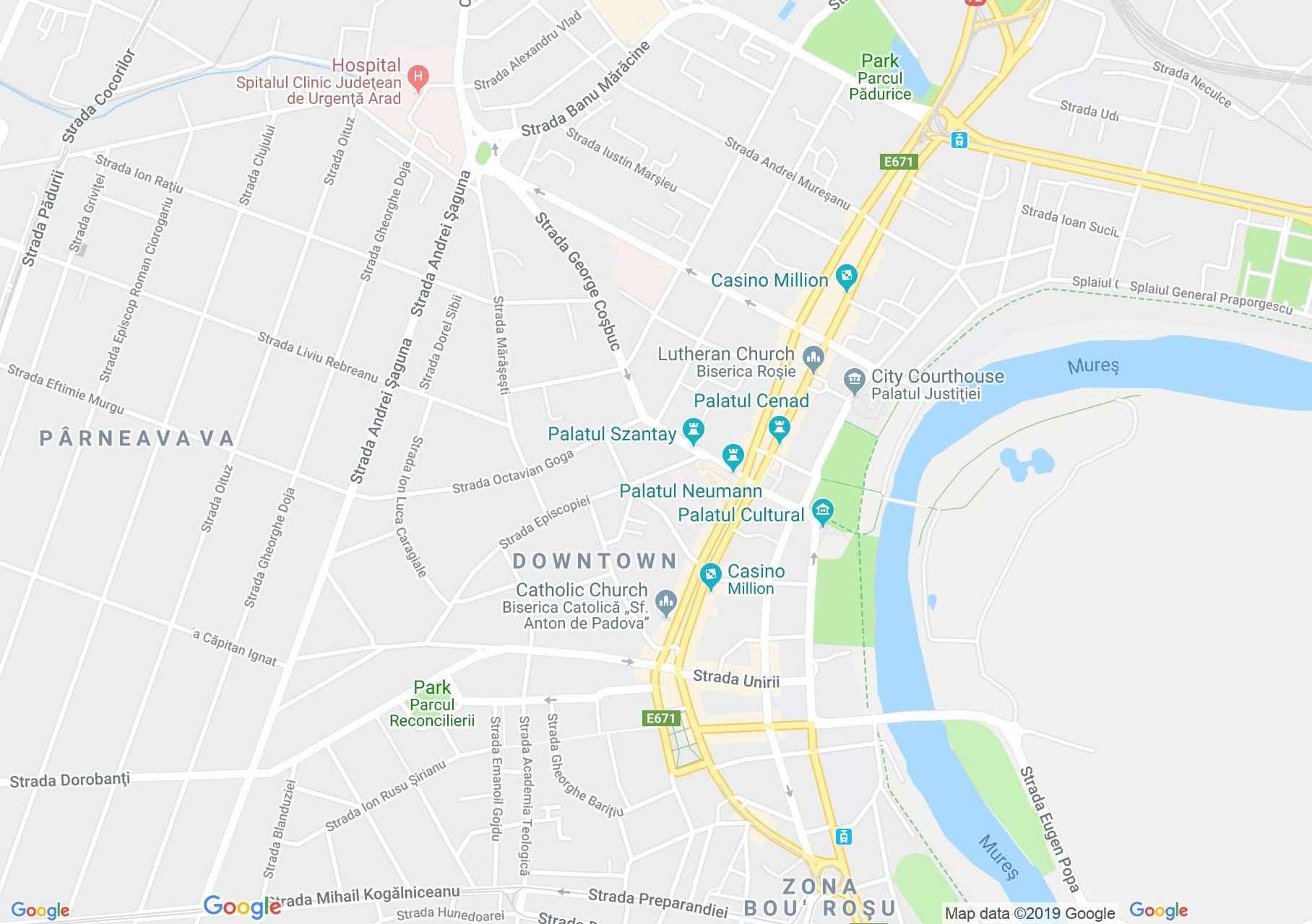 Arad: Régi Színház - Új színház (térkép)