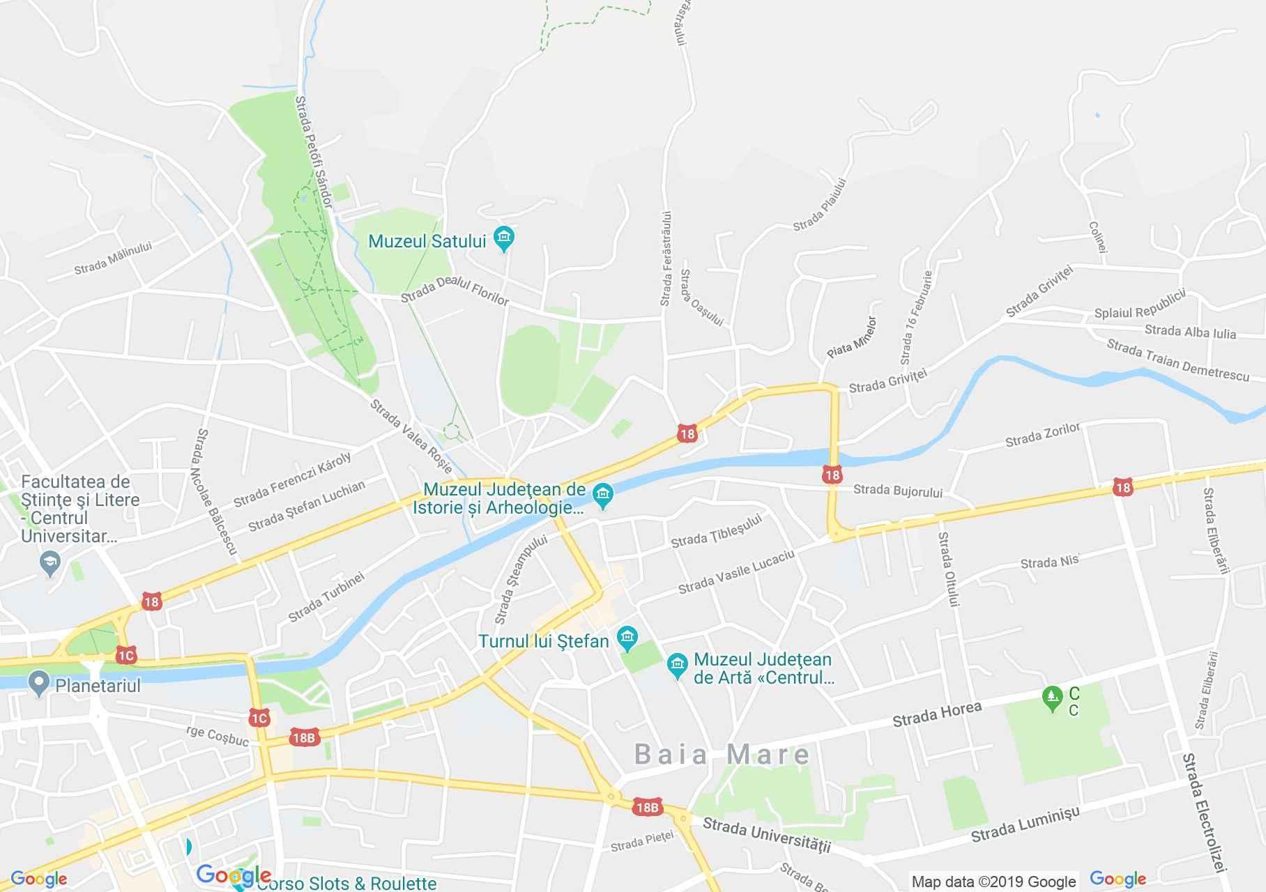 Nagybánya: Kilátás a Szent István toronyból (térkép)