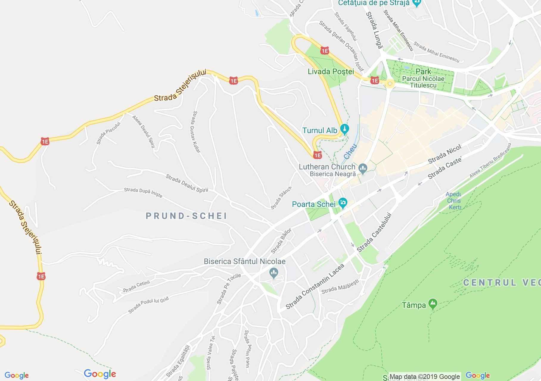 Brassó: Az elso roman iskola (térkép)