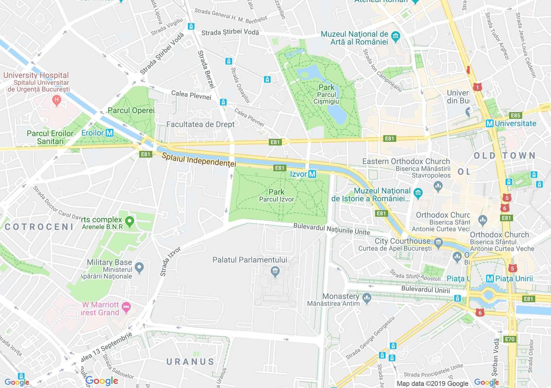 Hartă Bucuresti Palatul Parlamentului