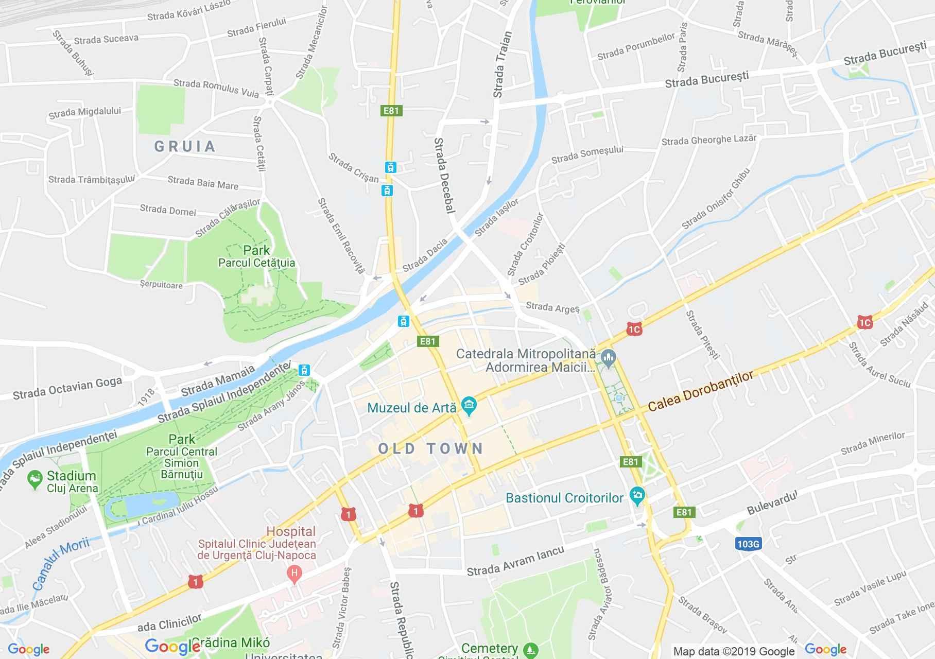 Map of Cluj-Napoca: Credit Bank, National Bank