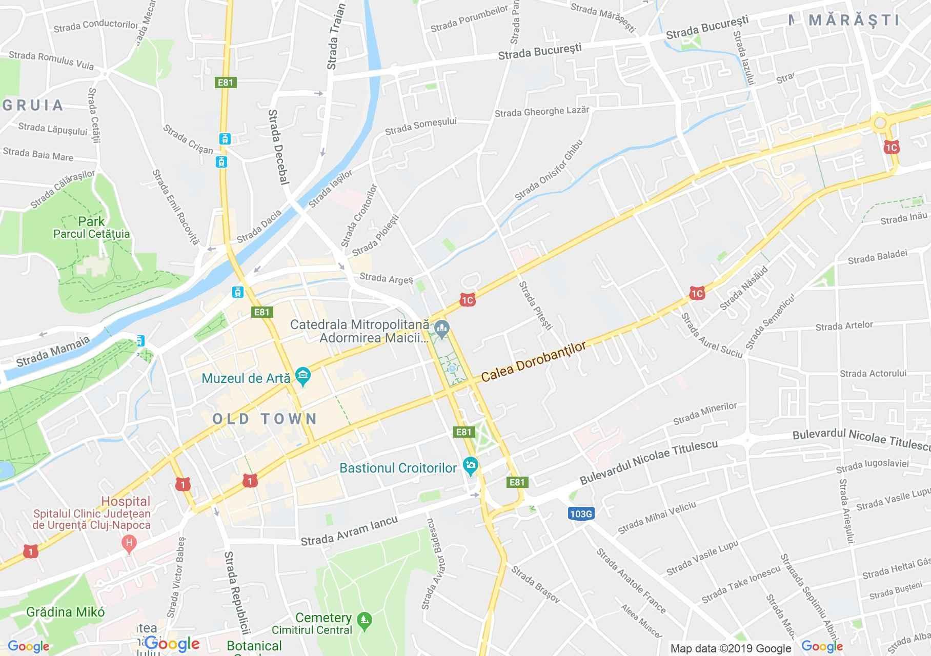 Hartă Cluj-Napoca: Bastionul (turnul) Croitorilor