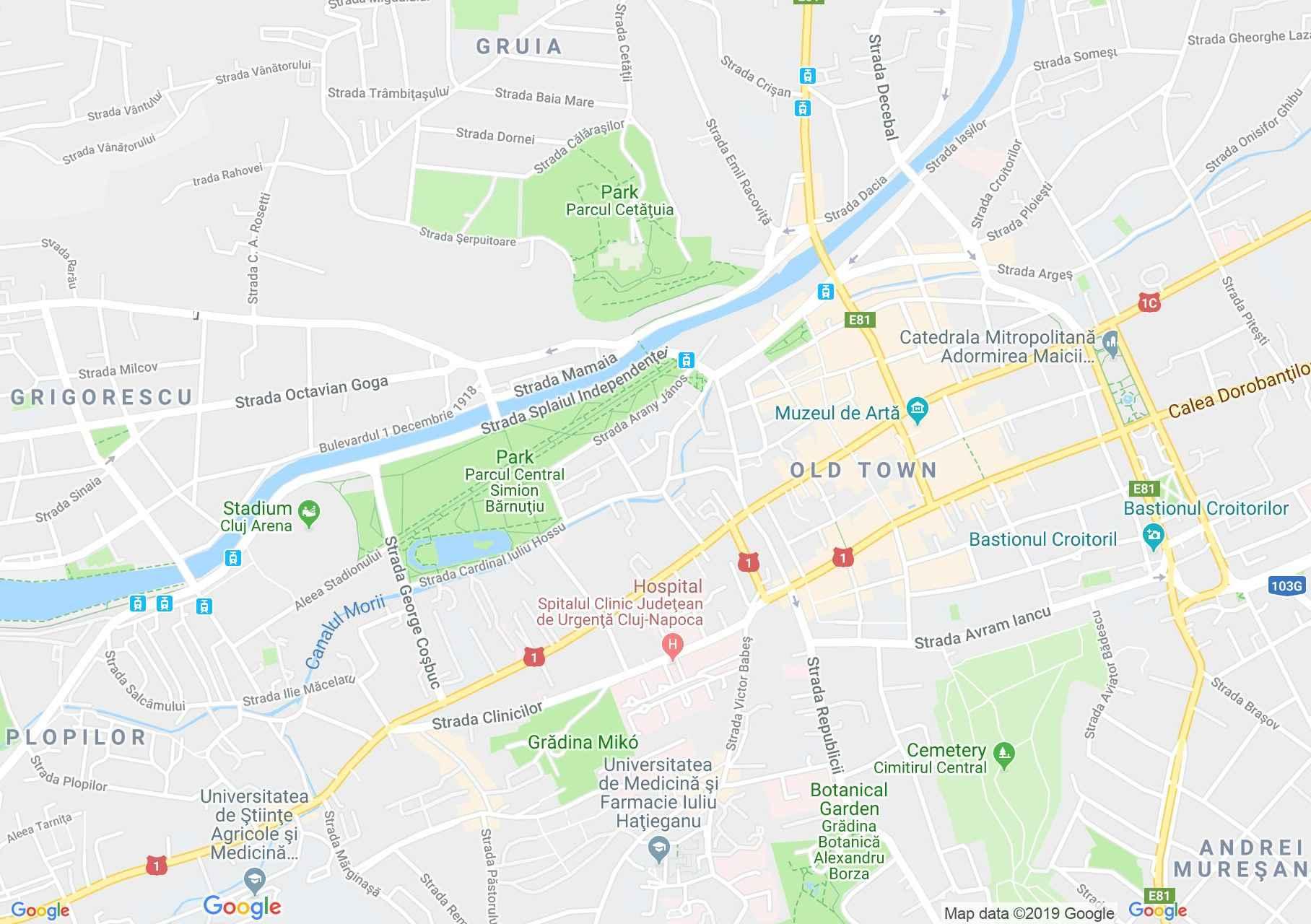 Map of Cluj-Napoca: Clinics