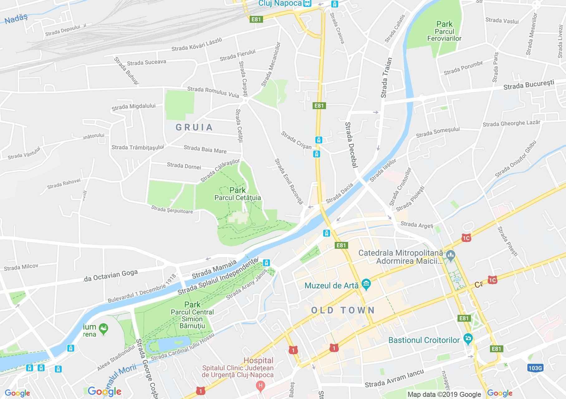 Map of Cluj-Napoca: UMP, the administration, Triska house