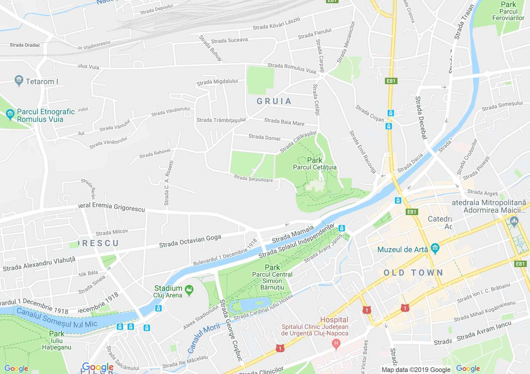 Map of Cluj-Napoca: Central Park