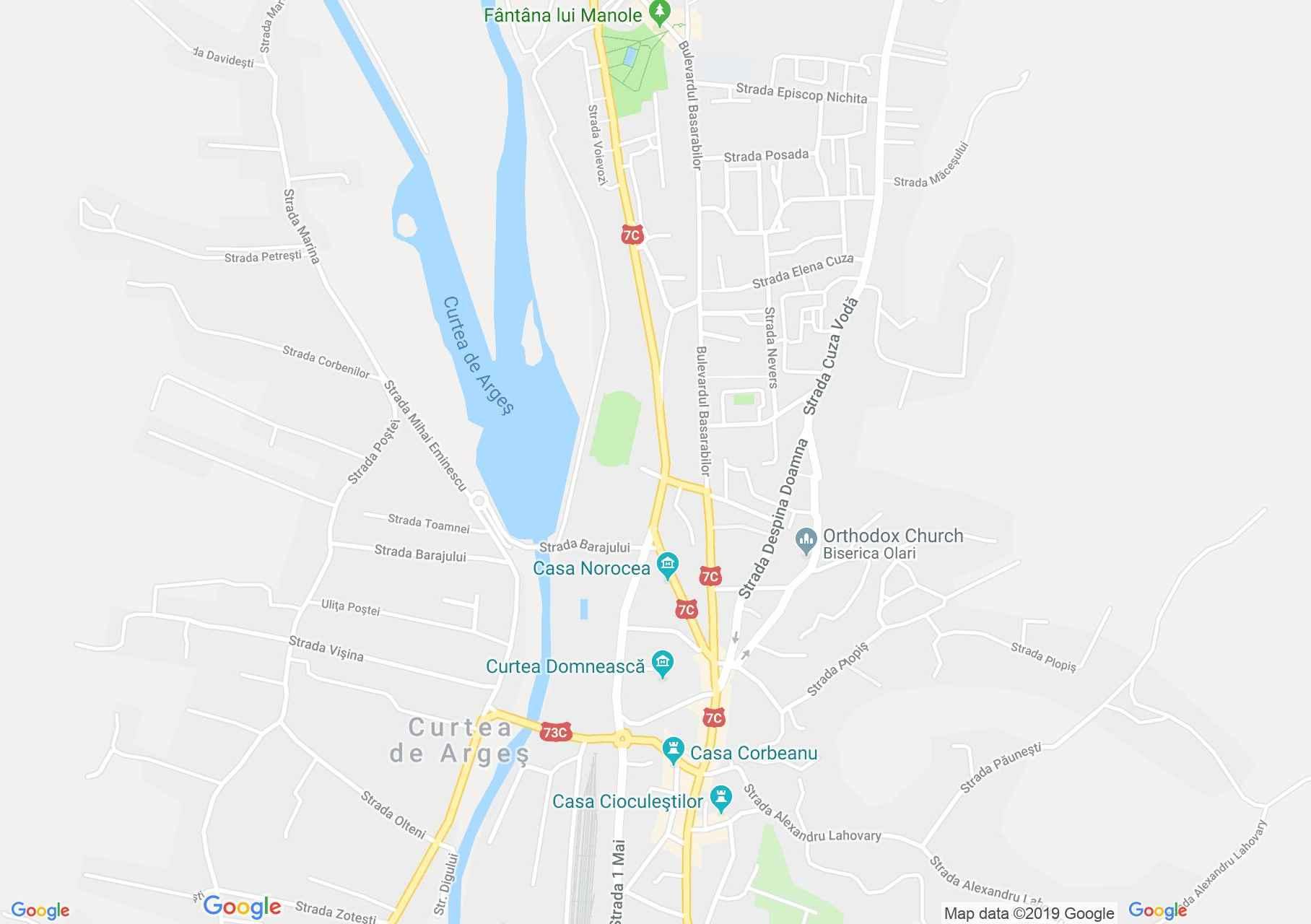 Curtea de Argeş: Fejedelmi udvar (térkép)