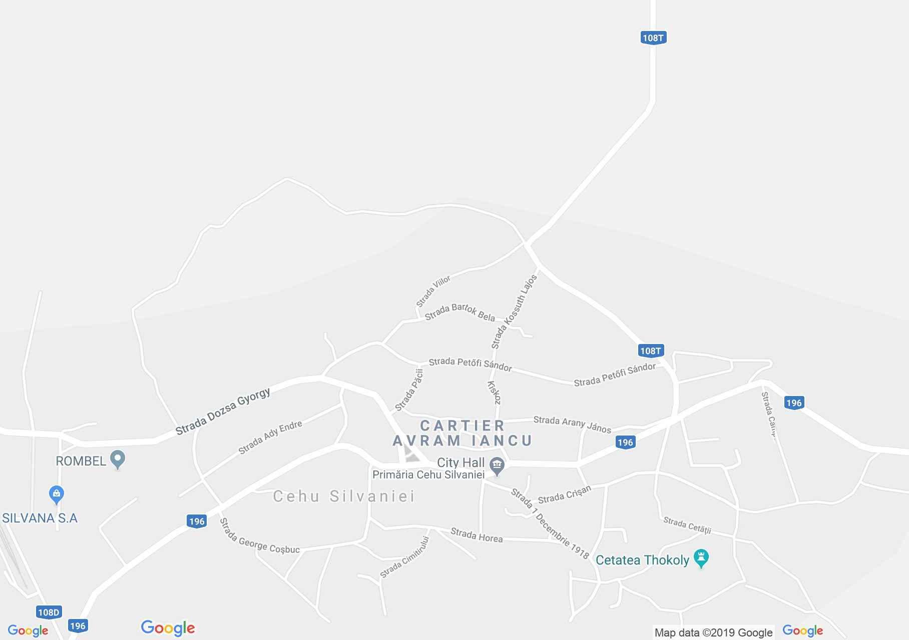 Map of Cehu Silvaniei: Catholic church