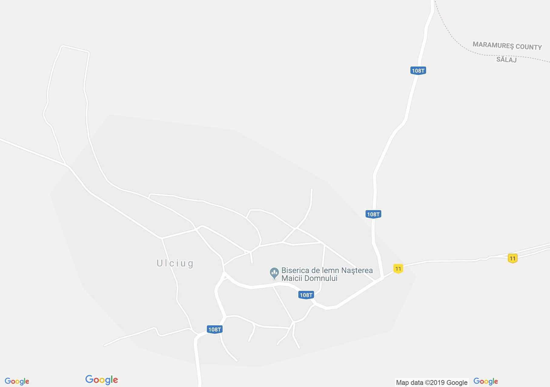 Hartă Ulciug: Biserica de lemn