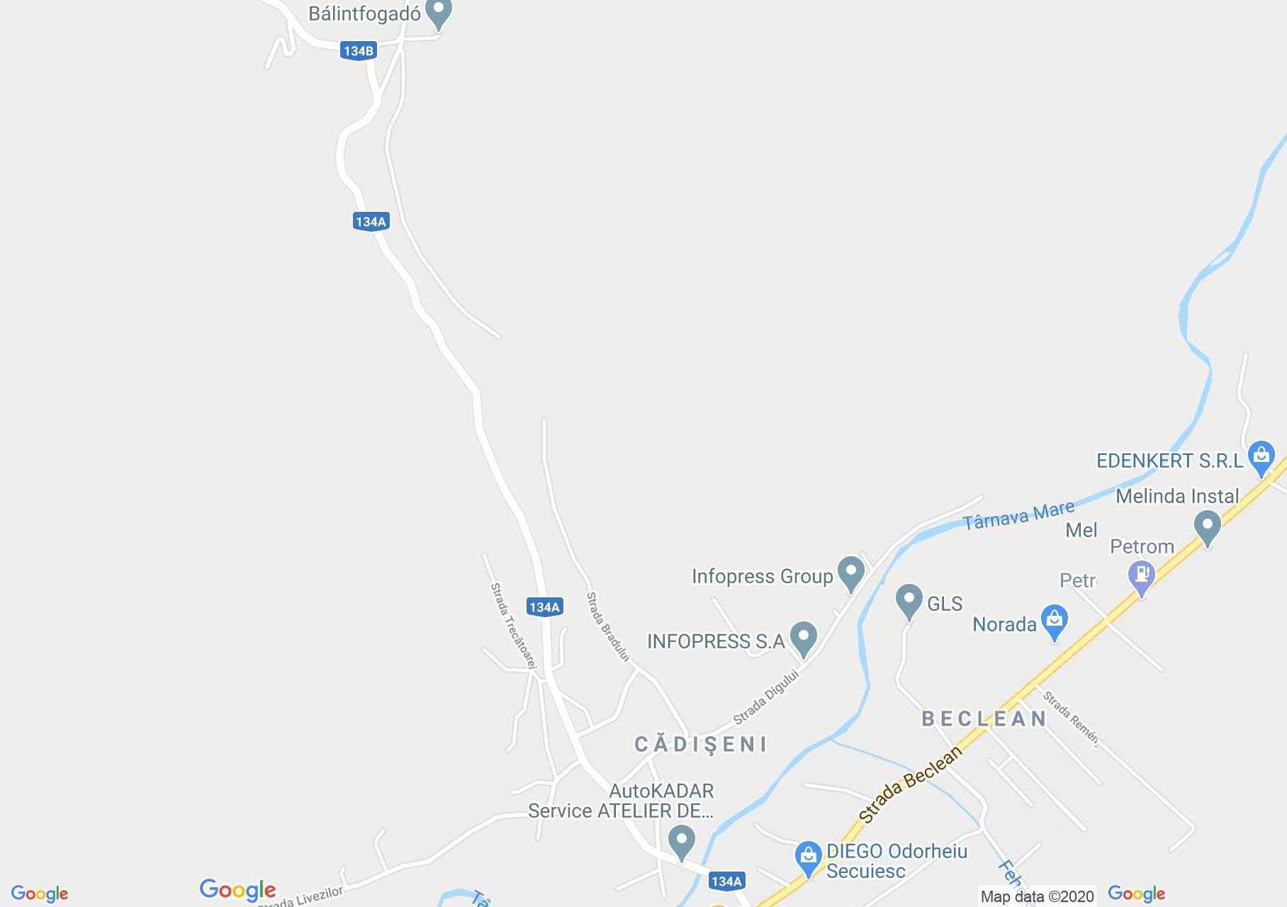 Hartă Cădişeni: Parohia catolica