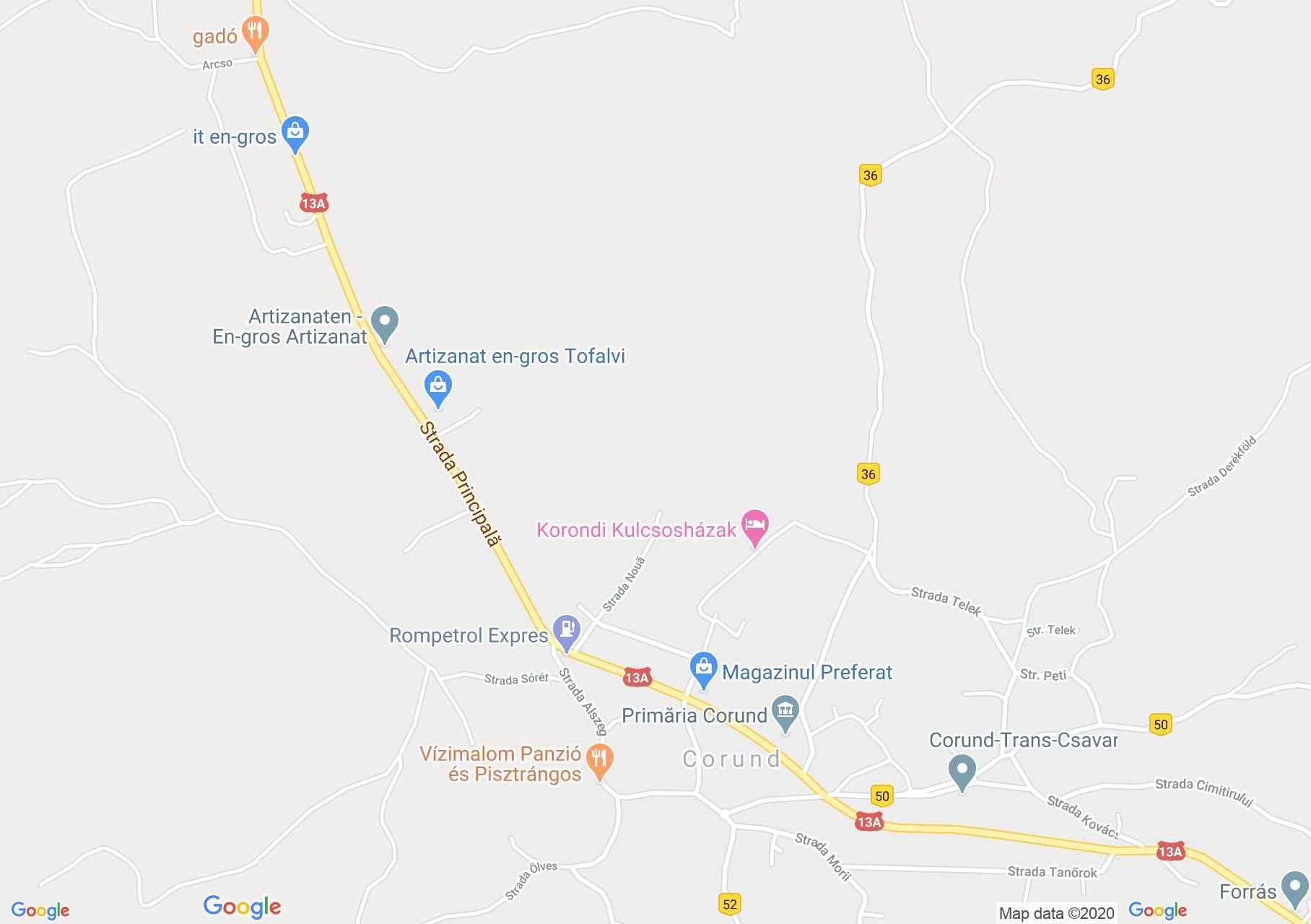 Korond: Fazekas műhely (térkép)