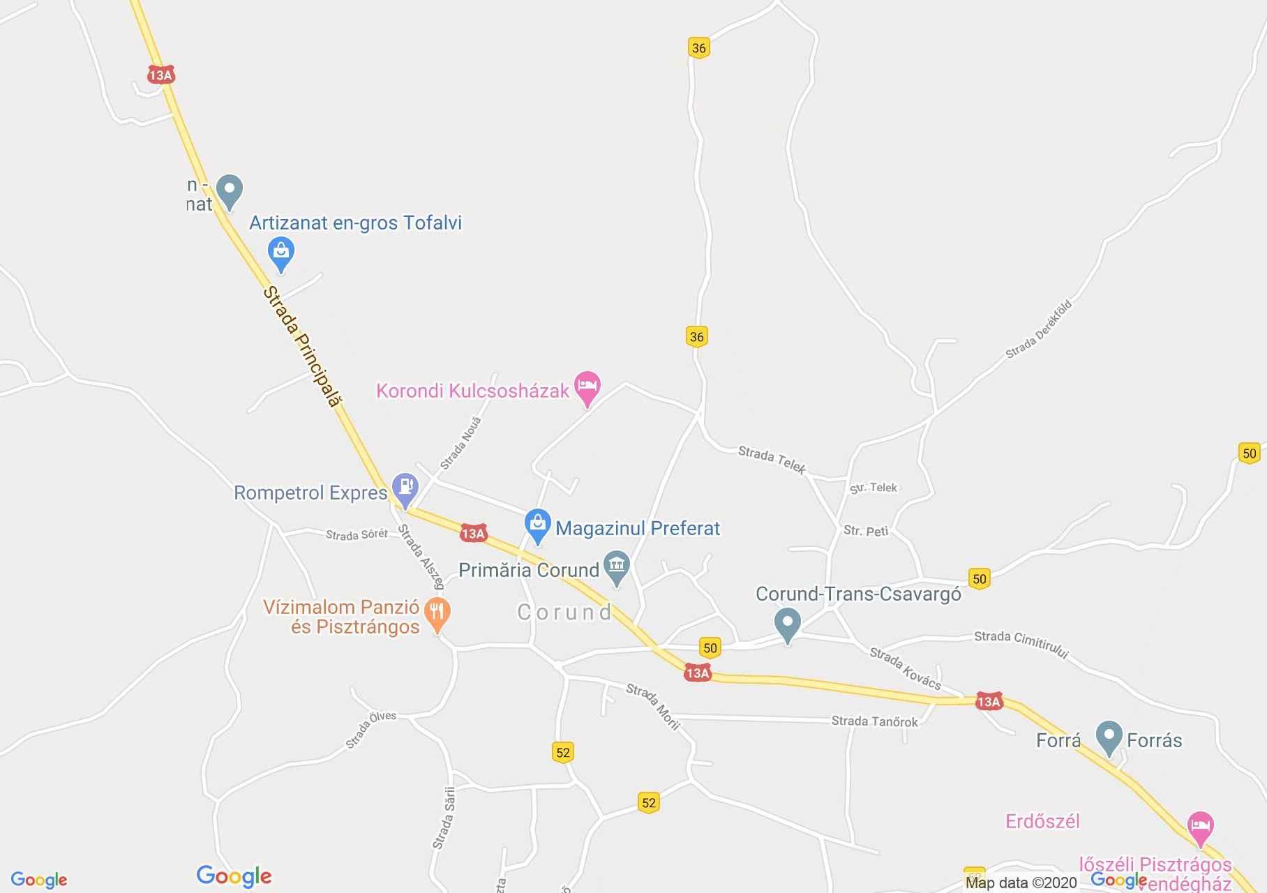 Korond: Katolikus templom (térkép)