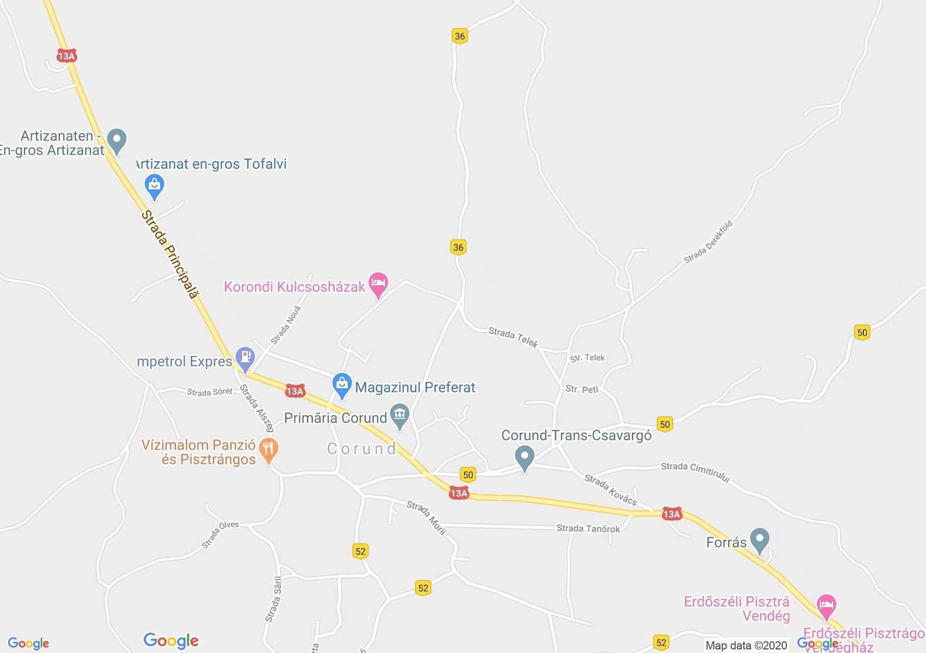 Korond: Unitárius templom (térkép)