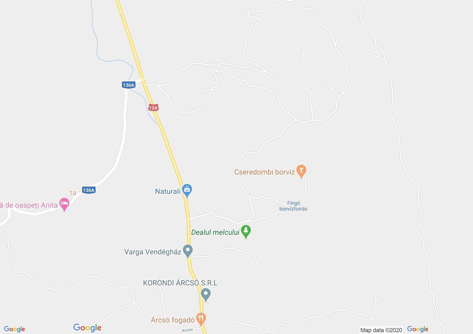 Hartă Corund: Depunerile de aragonit