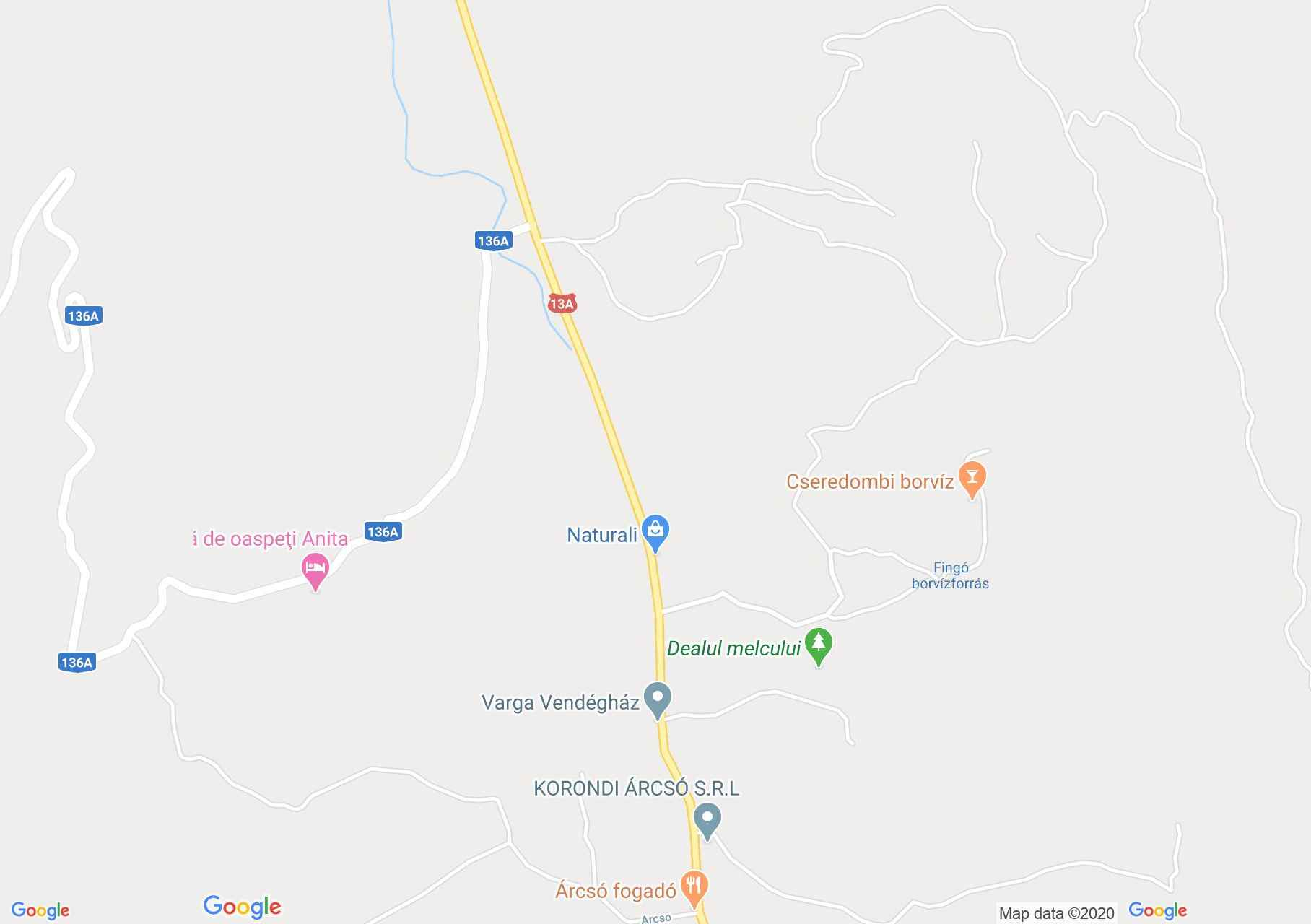Map of Corund: Aragonite museum