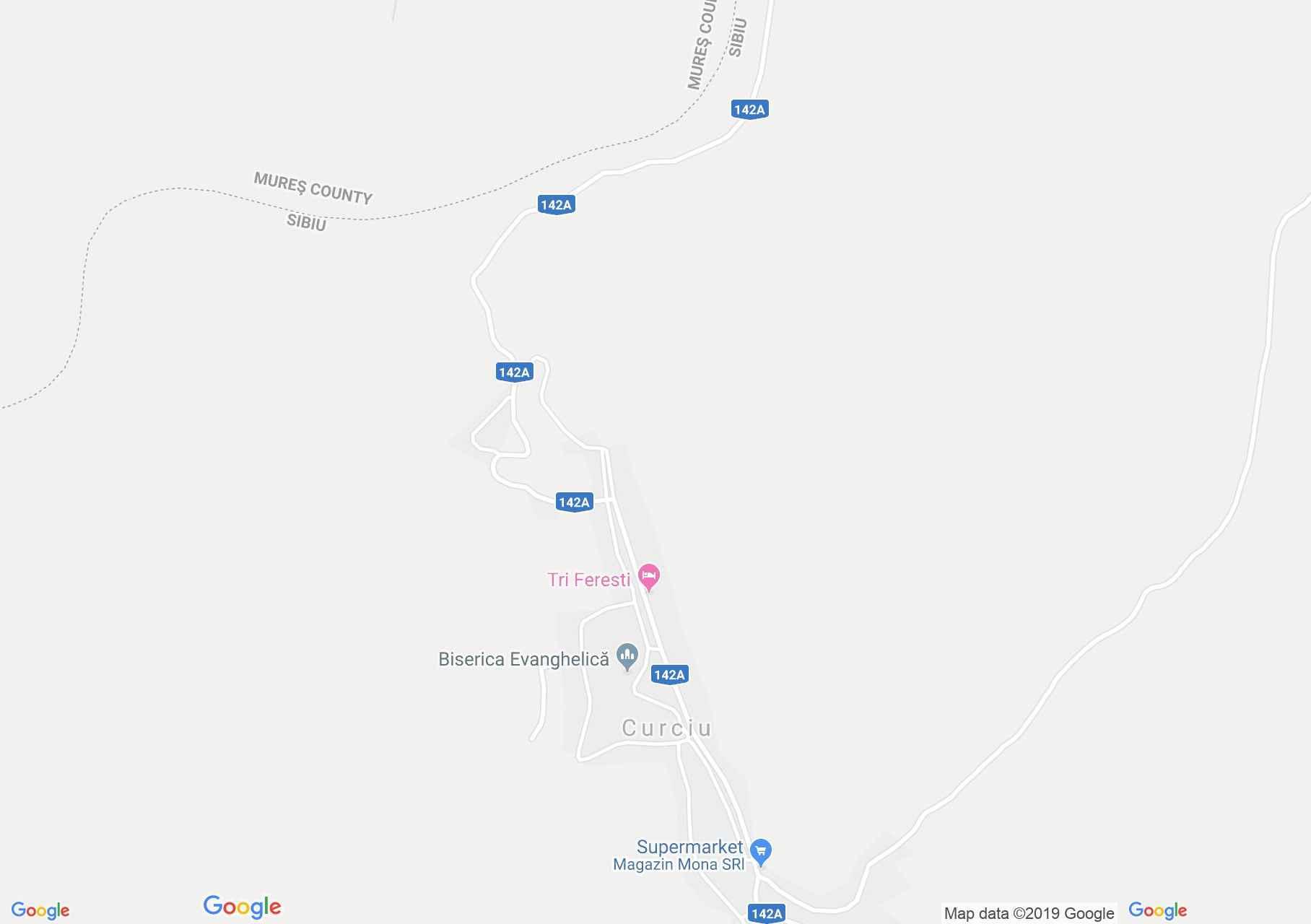 Map of Curciu: Evangelical fortified church