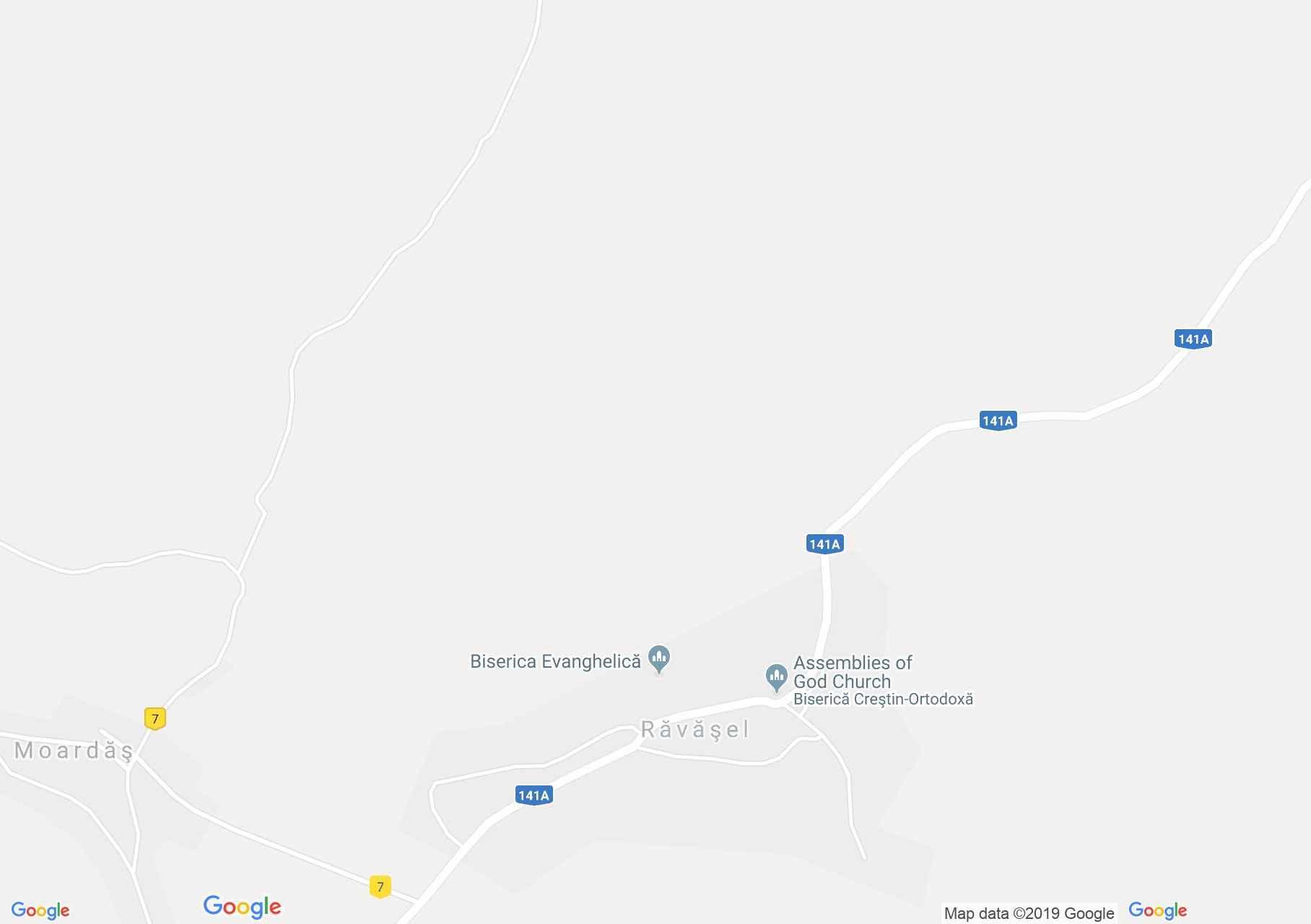 Map of Răvăşel: Evangelical church