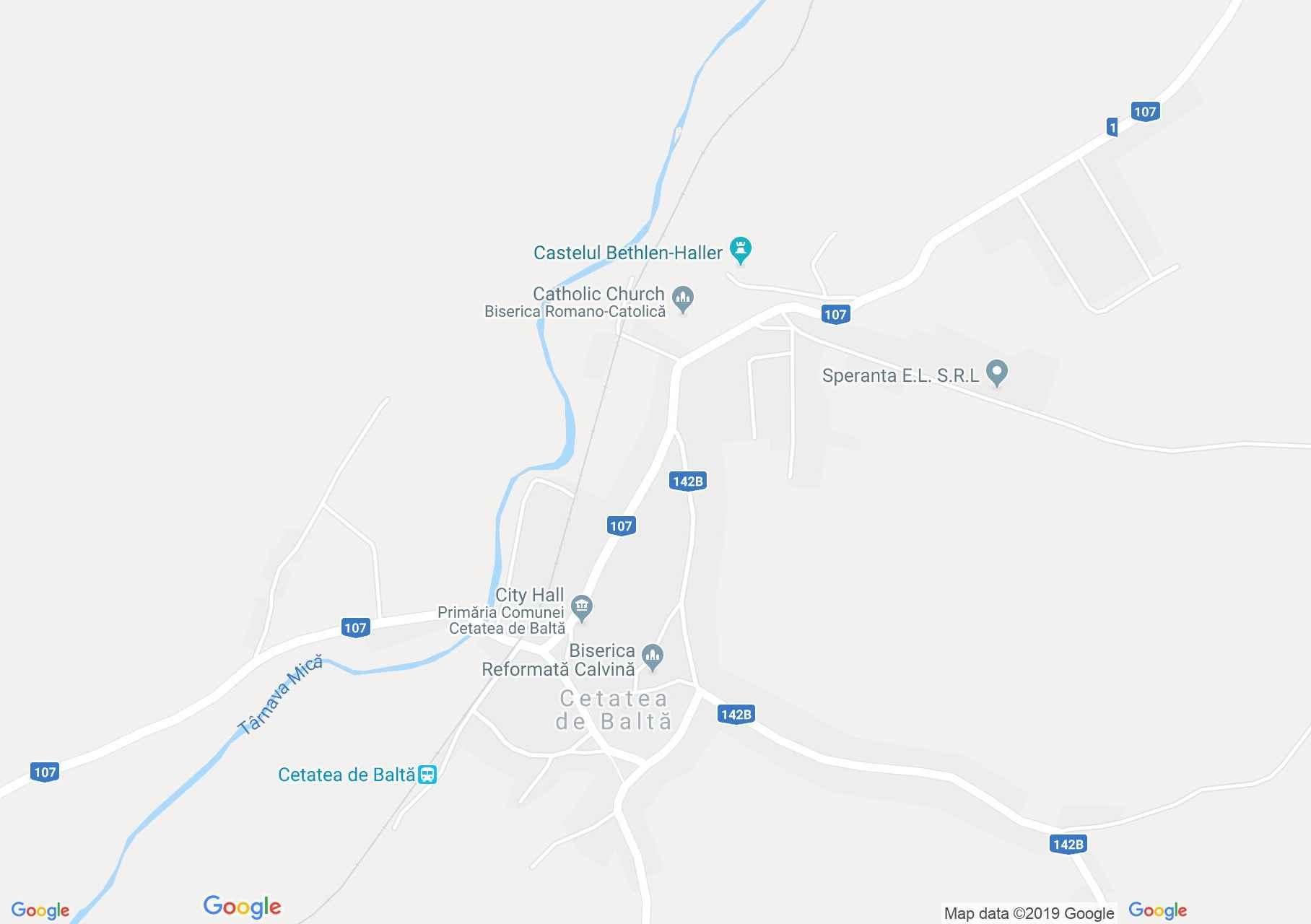 Hartă Cetatea de Balta: Biserica reformată