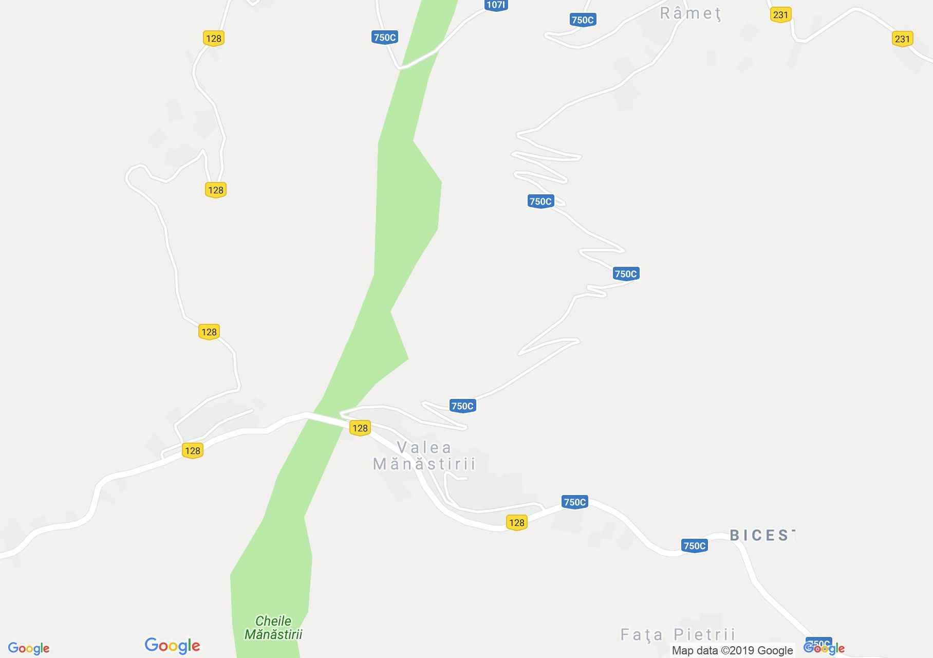 Map of Valea Mănăstirii: Ramet Monastery