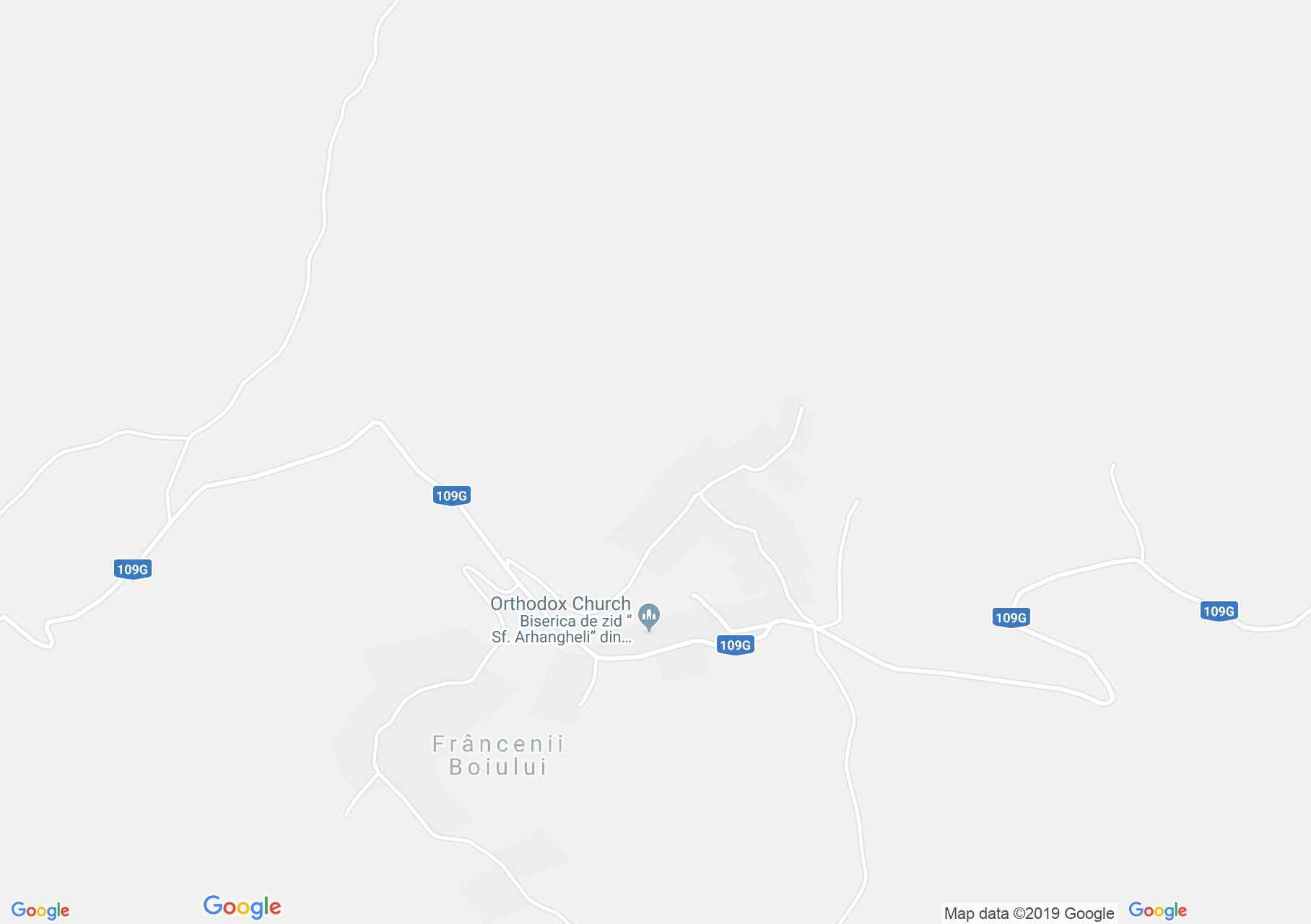 Hartă Frâncenii Boiului: Biserica de lemn