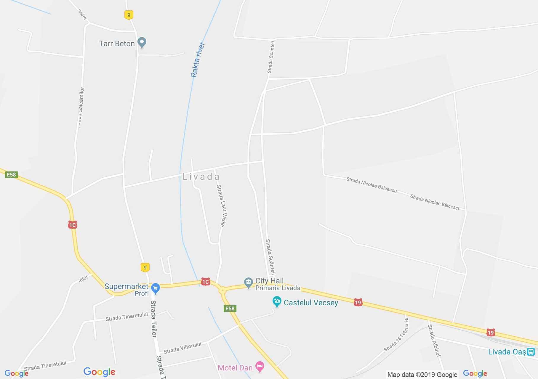 Hartă Livada: Biserica catolică
