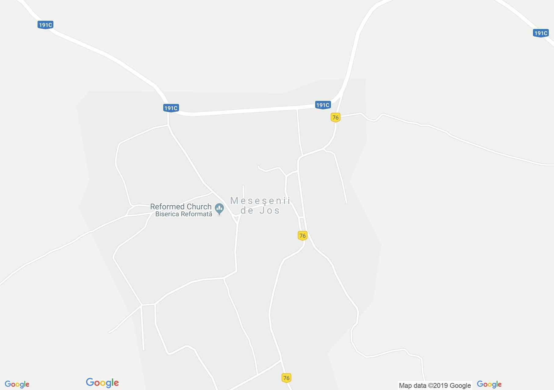 Hartă Meseşenii de Jos: Biserica reformată