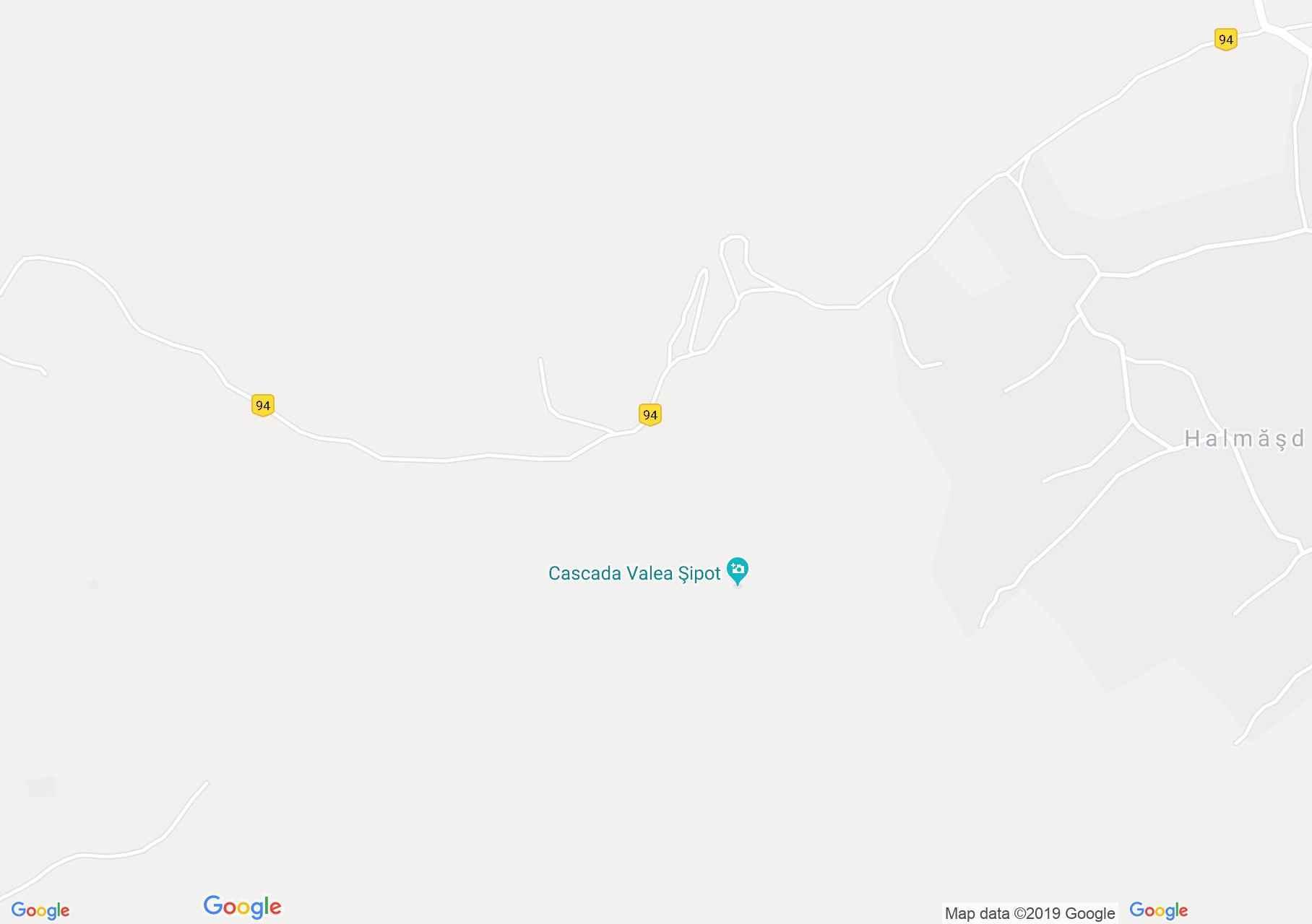 Hartă Halmăşd: Cascada de pe valea Şipot