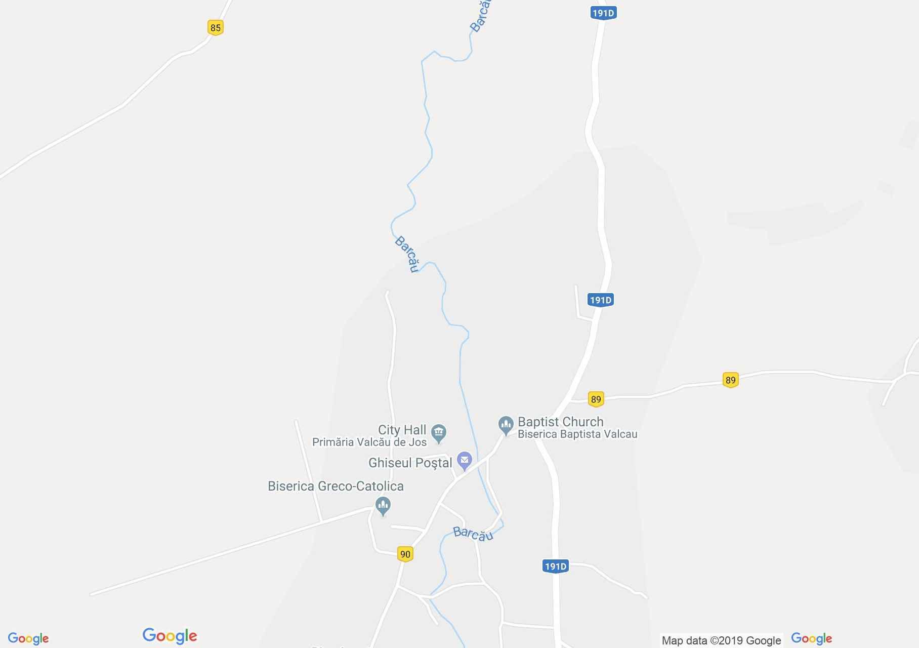 Hartă Valcău de Jos: Biserica reformată