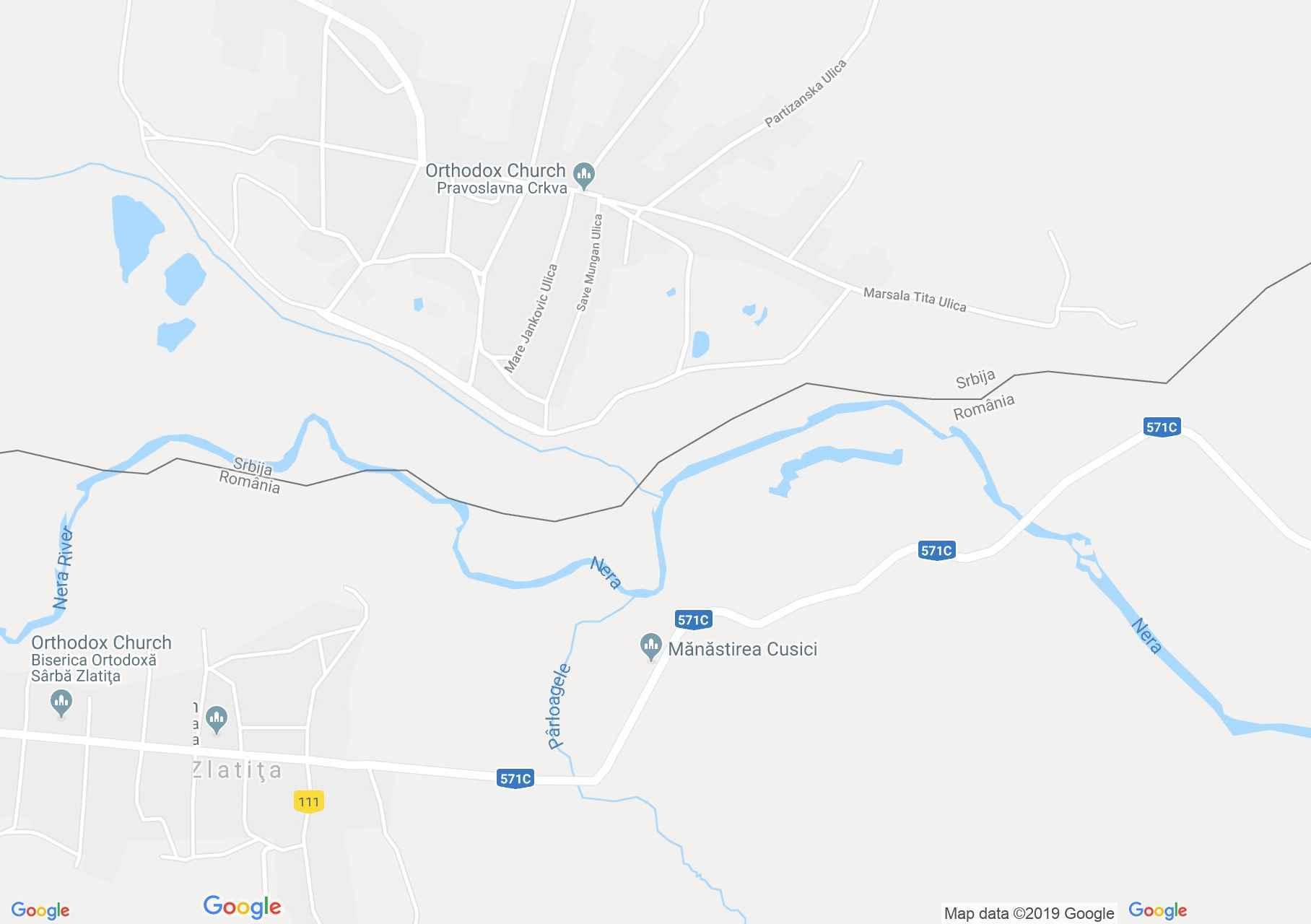 Hartă Zlatiţa: Mănăstirea Cusici