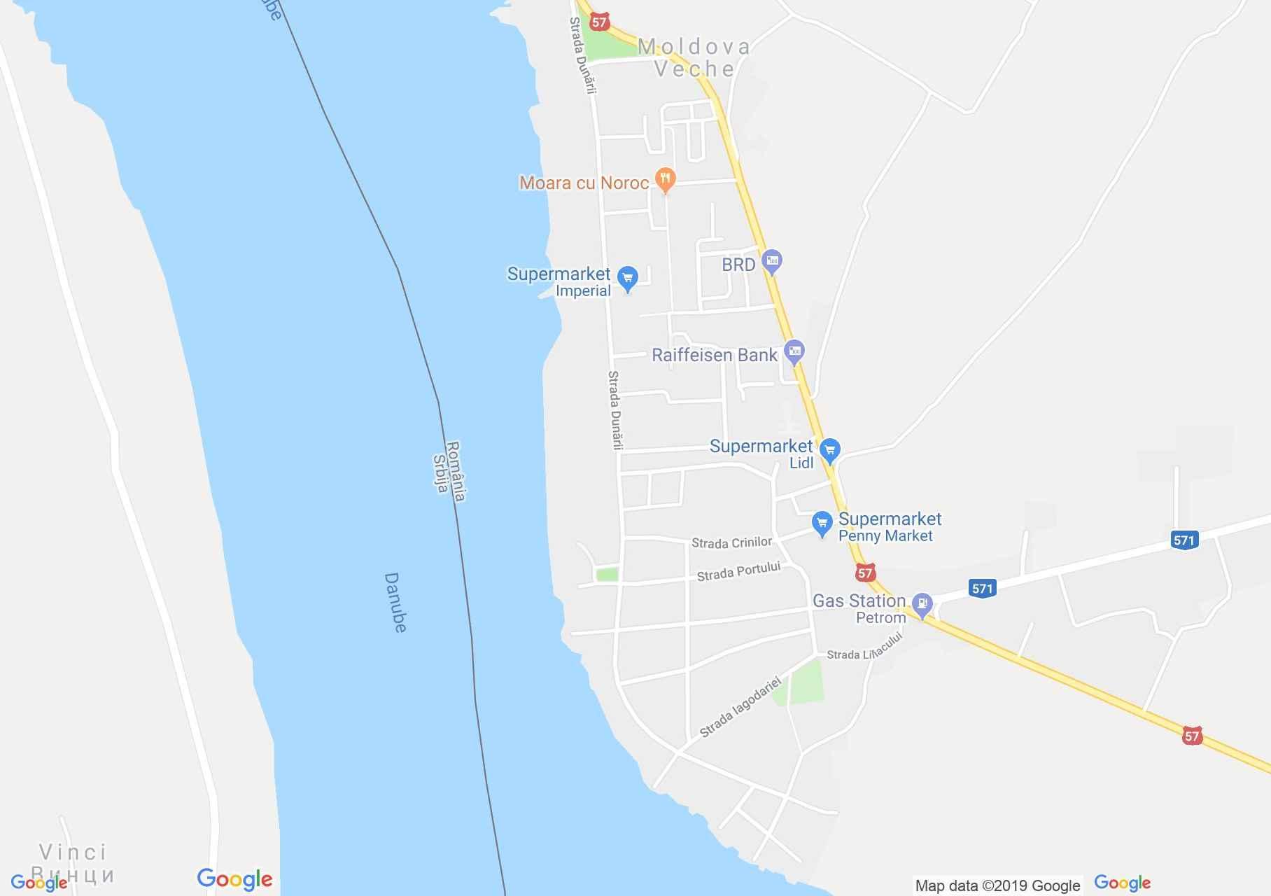 Map of Moldova Veche: Serbian church