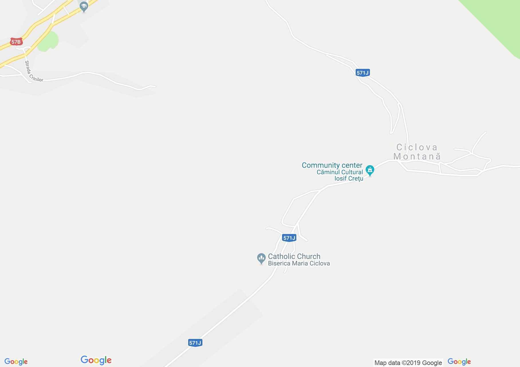 Map of Ciclova Montană: Ciclova Montană, Catholic Church