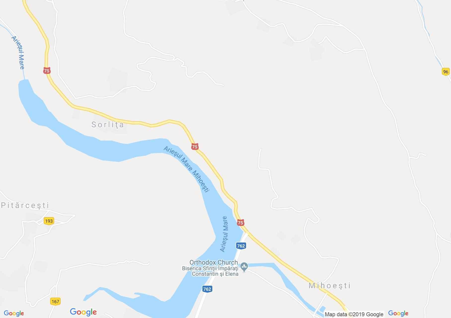 Mihoeşti: A topánfalvi vagy Mihoesti-i víztározó (térkép)