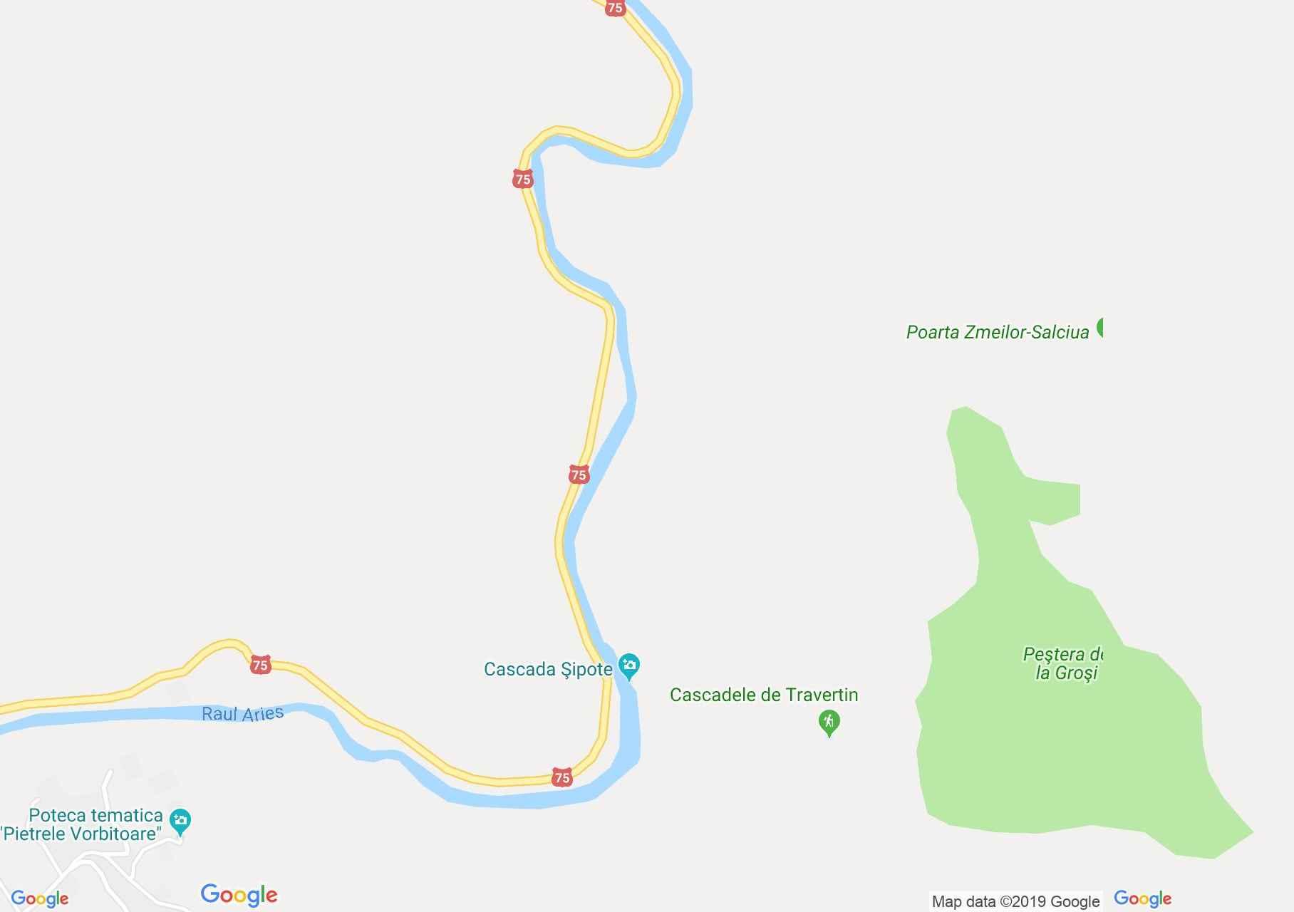 Hartă Sălciua de Jos: Cascada Şipote