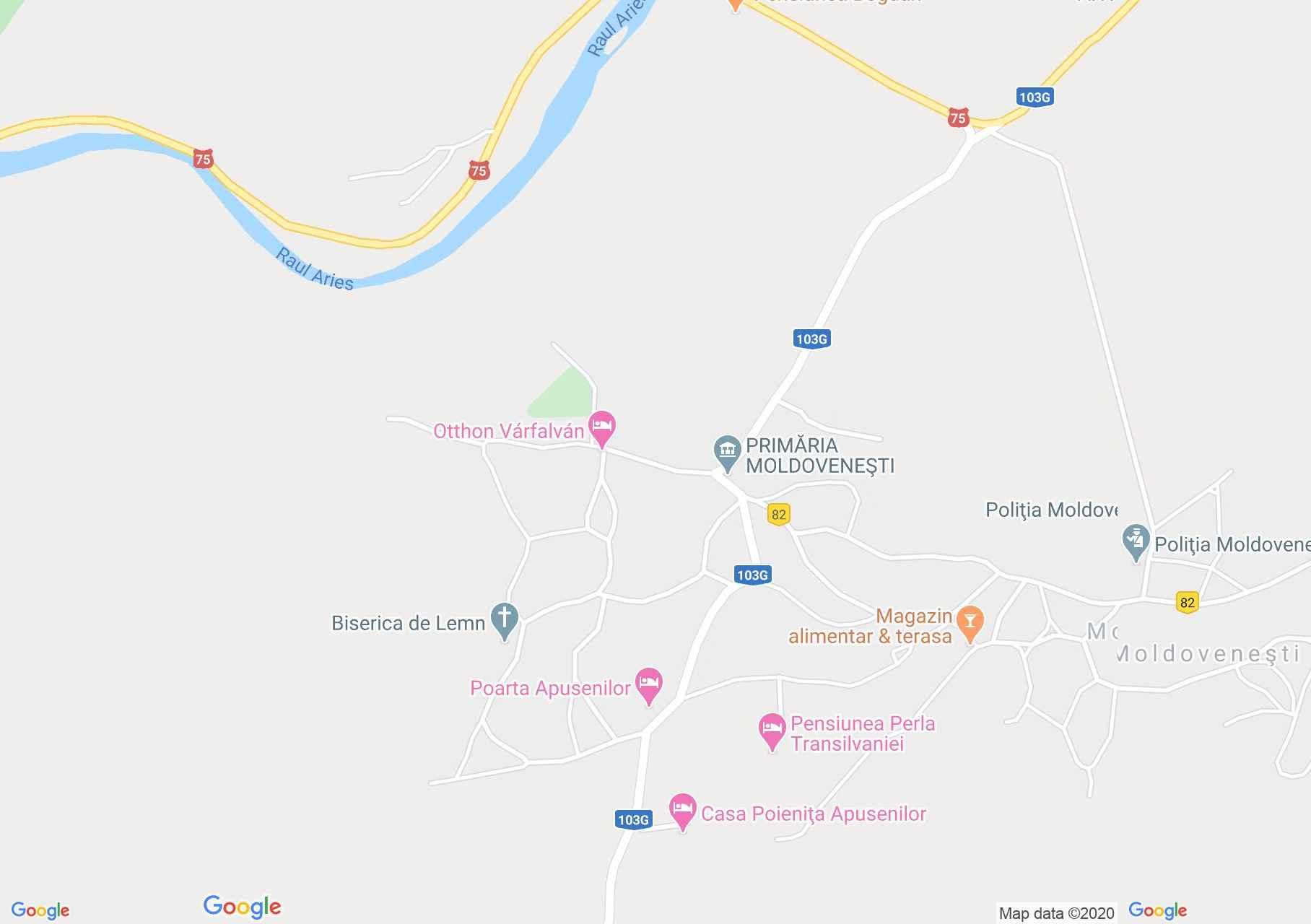 Hartă Moldoveneşti: Pensiunea Poarta Apusenilor