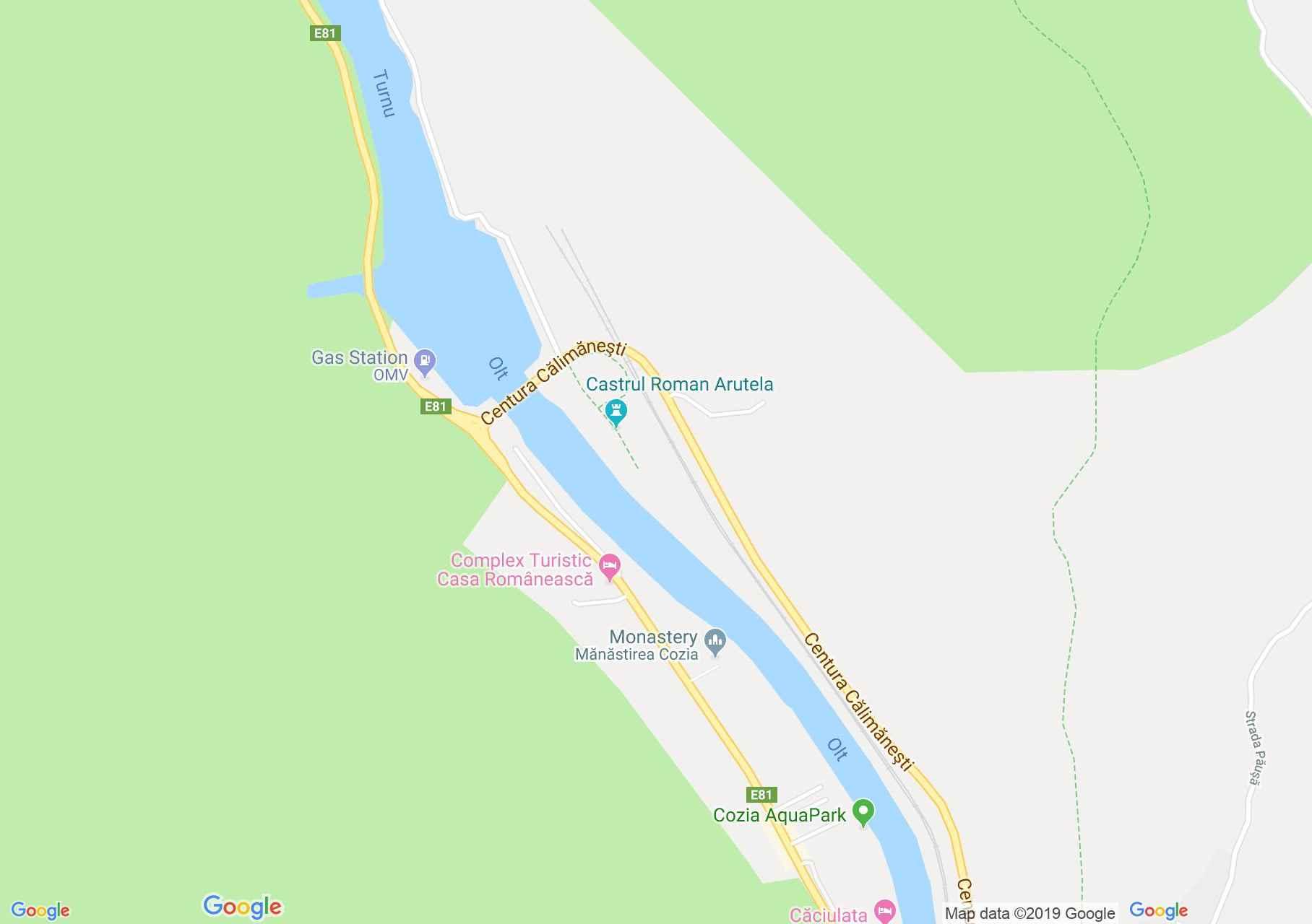 Călimăneşti: Cozia kolostor, Bolnita templom (térkép)