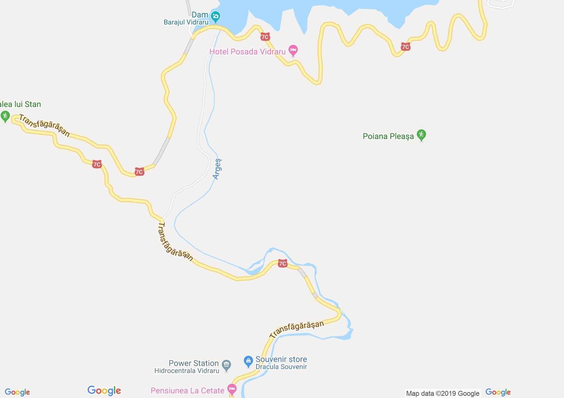 Hartă DN7c: Cetatea Poenari