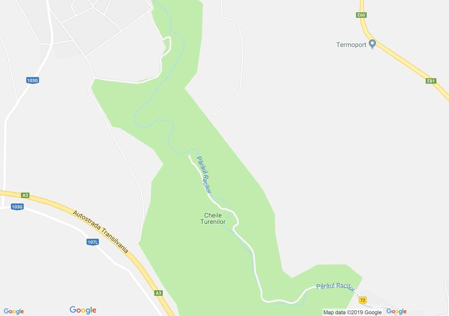 Hartă Tureni: Cheile Tureni