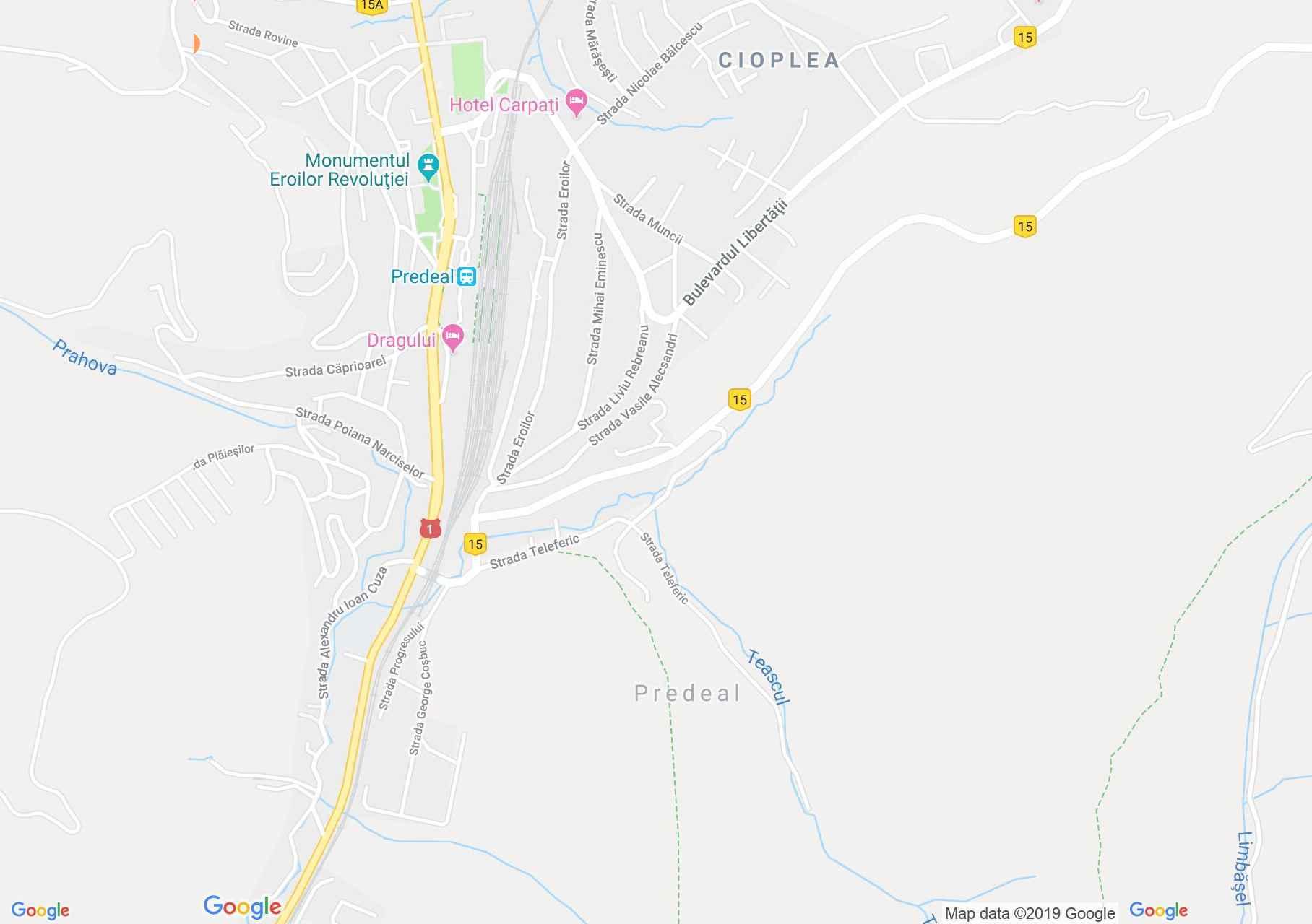 Predeál: Clăbucet sosire sípálya (térkép)