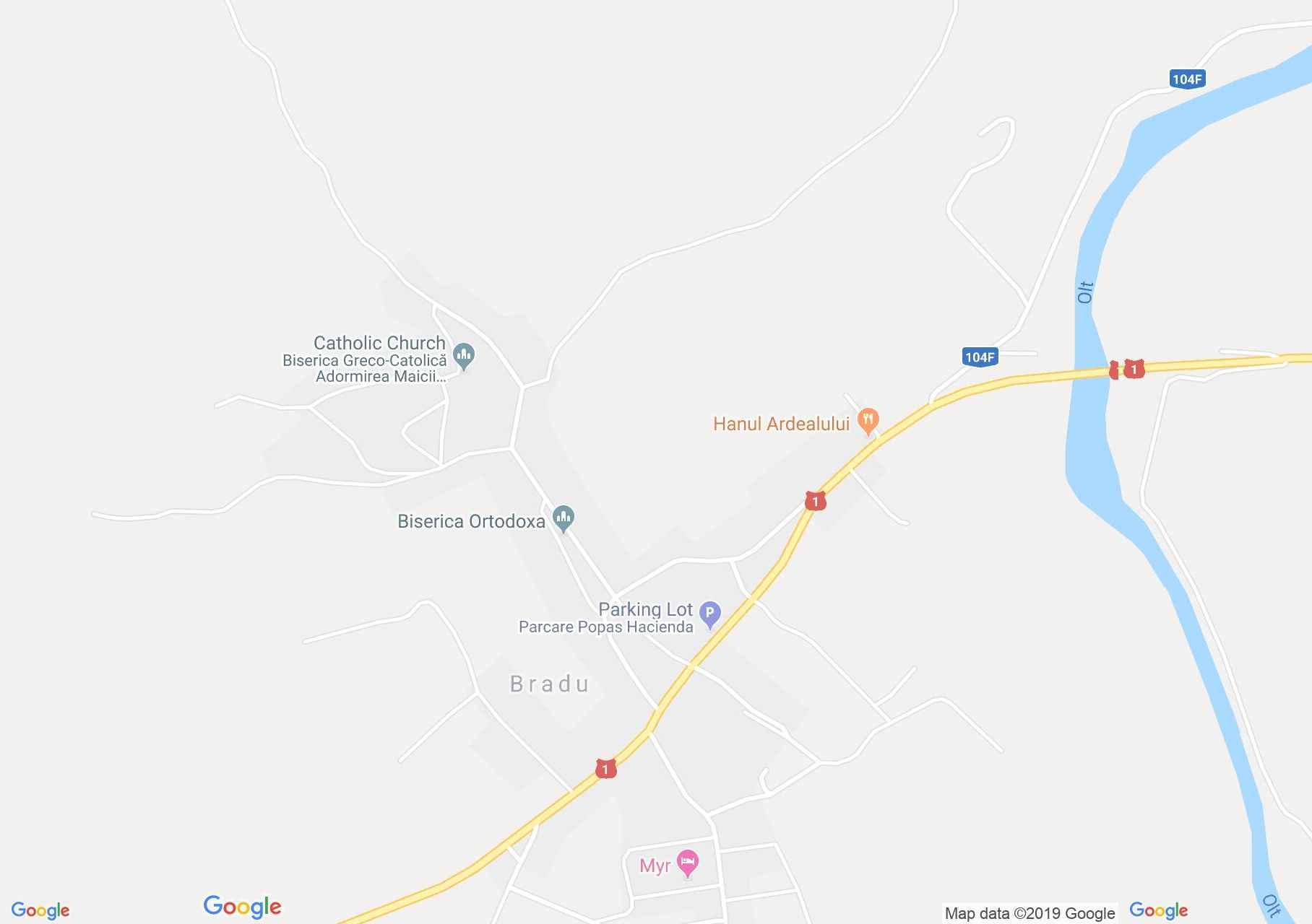 Map of Bradu: Evangelical fortified church