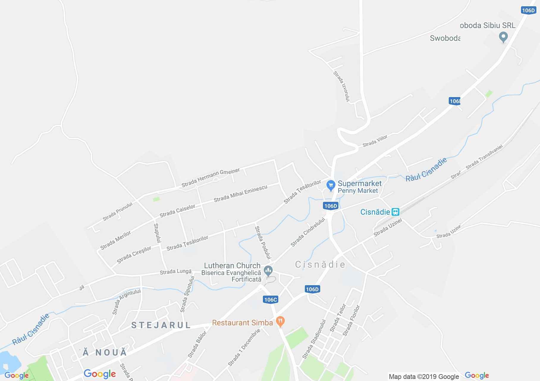 Hartă Cisnădie: Biserica evangelică fortificată