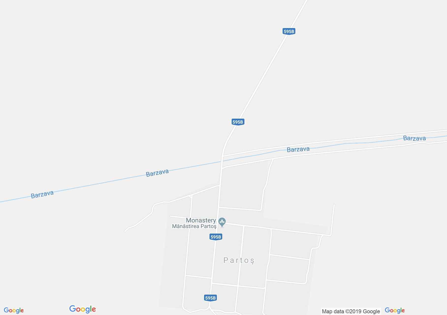 Hartă Partoş: Mănăstirea Partoş
