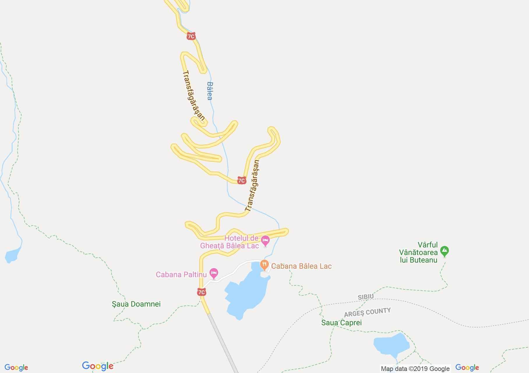 Hartă Munţii Făgăraş: Cabana Bâlea Lac
