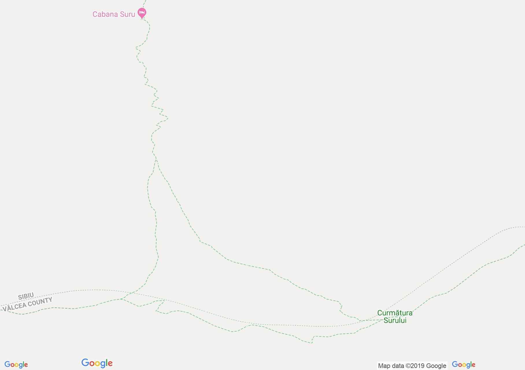 Hartă Munţii Făgăraş: Cabana Suru - Şaua Suru