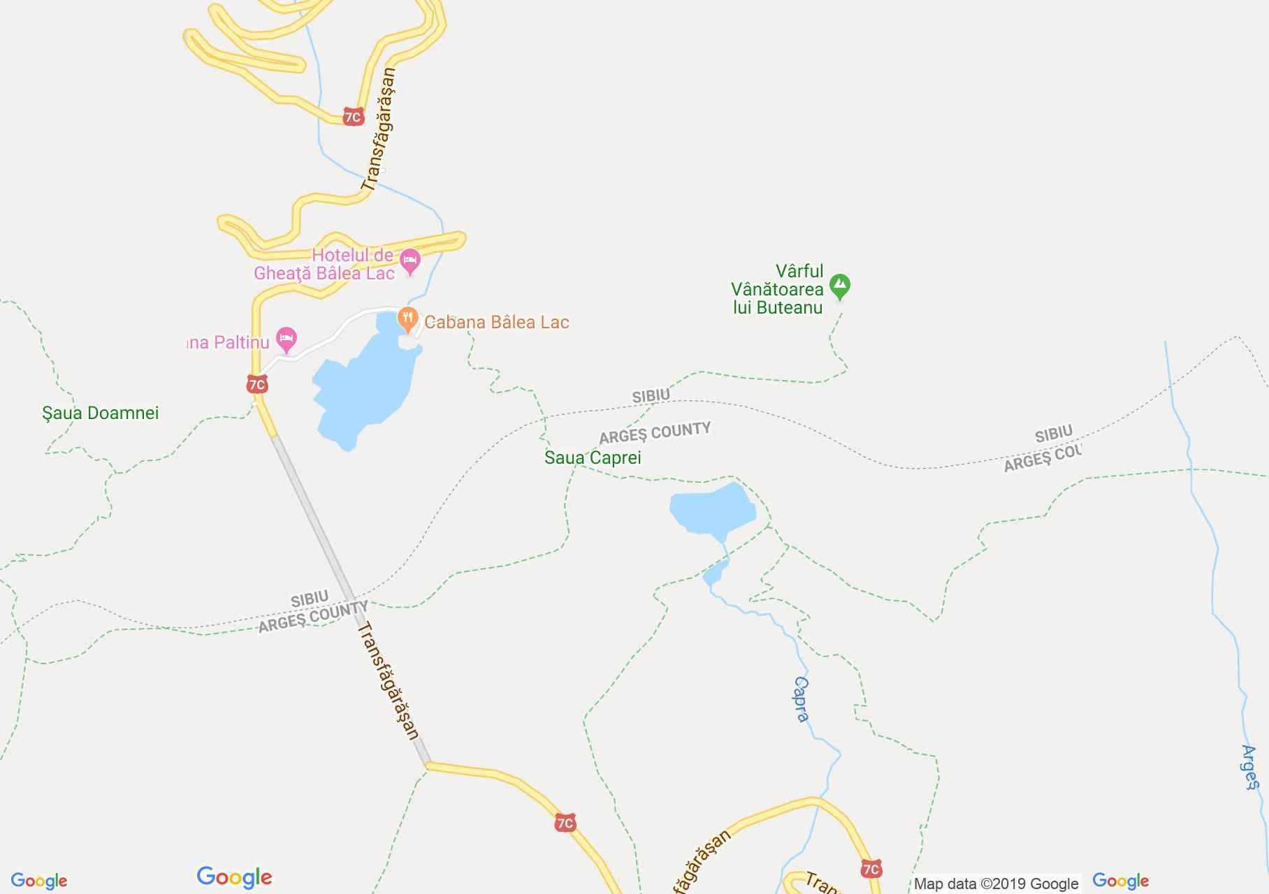 Hartă Munţii Făgăraş: Cabana Salvamont Cota 2000 - Lacul Capra