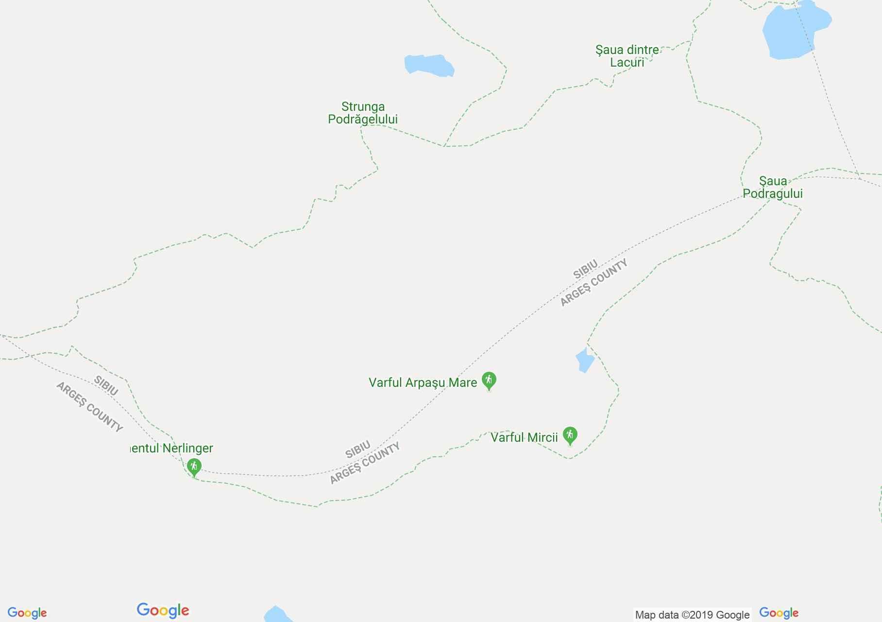 Map of Făgăraş mountains: Podragu saddle -  Capra saddle