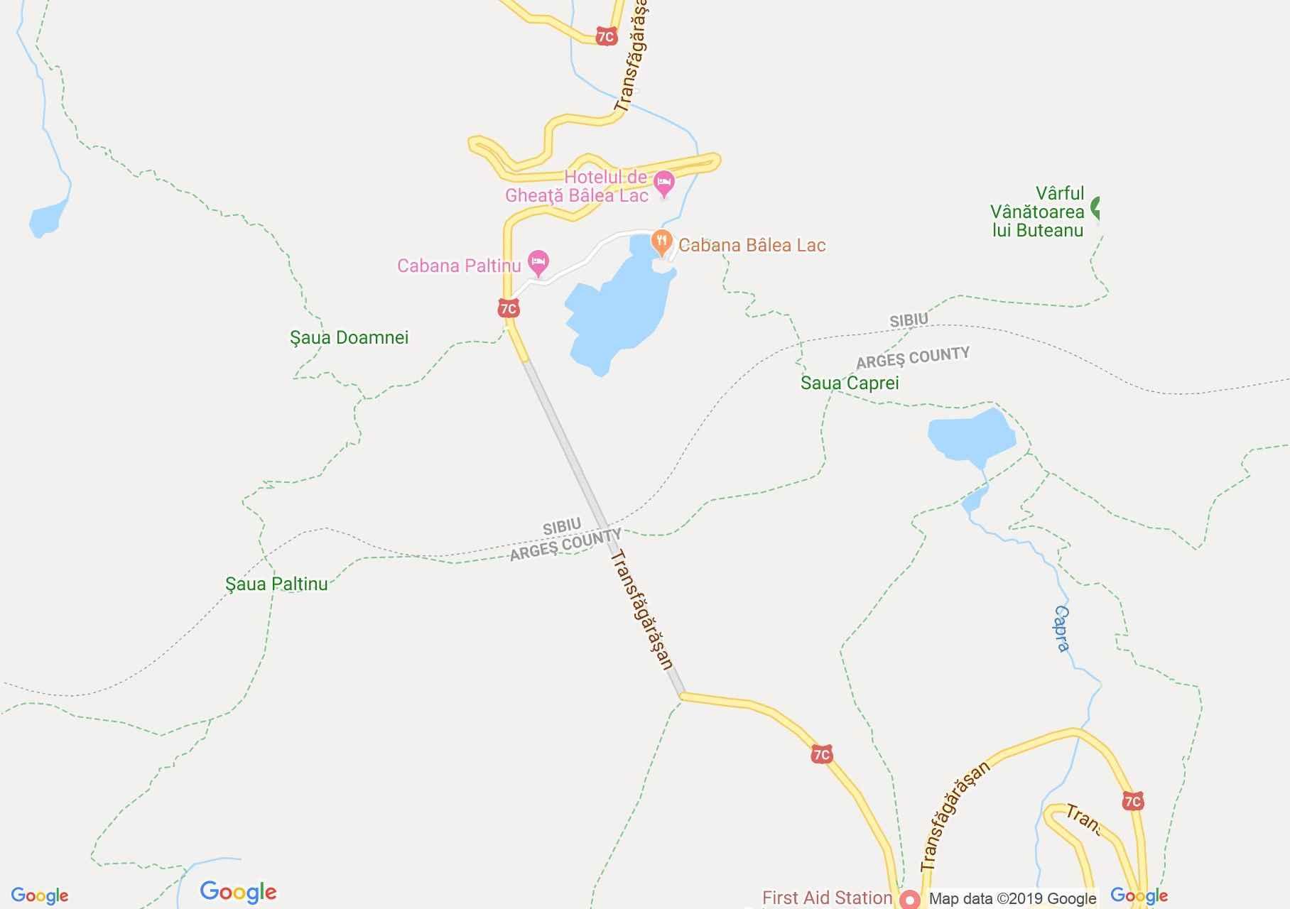 Hartă Munţii Făgăraş: Tunelul Transfăgărăşan sud - Fereastra Bâlei