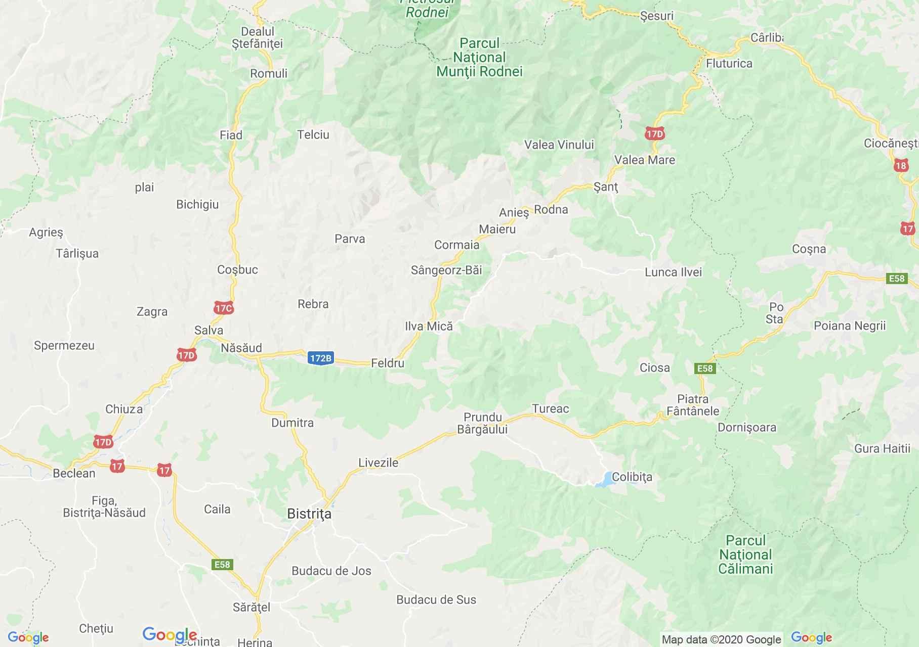 Folklor: Prundu Bârgăului-i népviselet  (térkép)